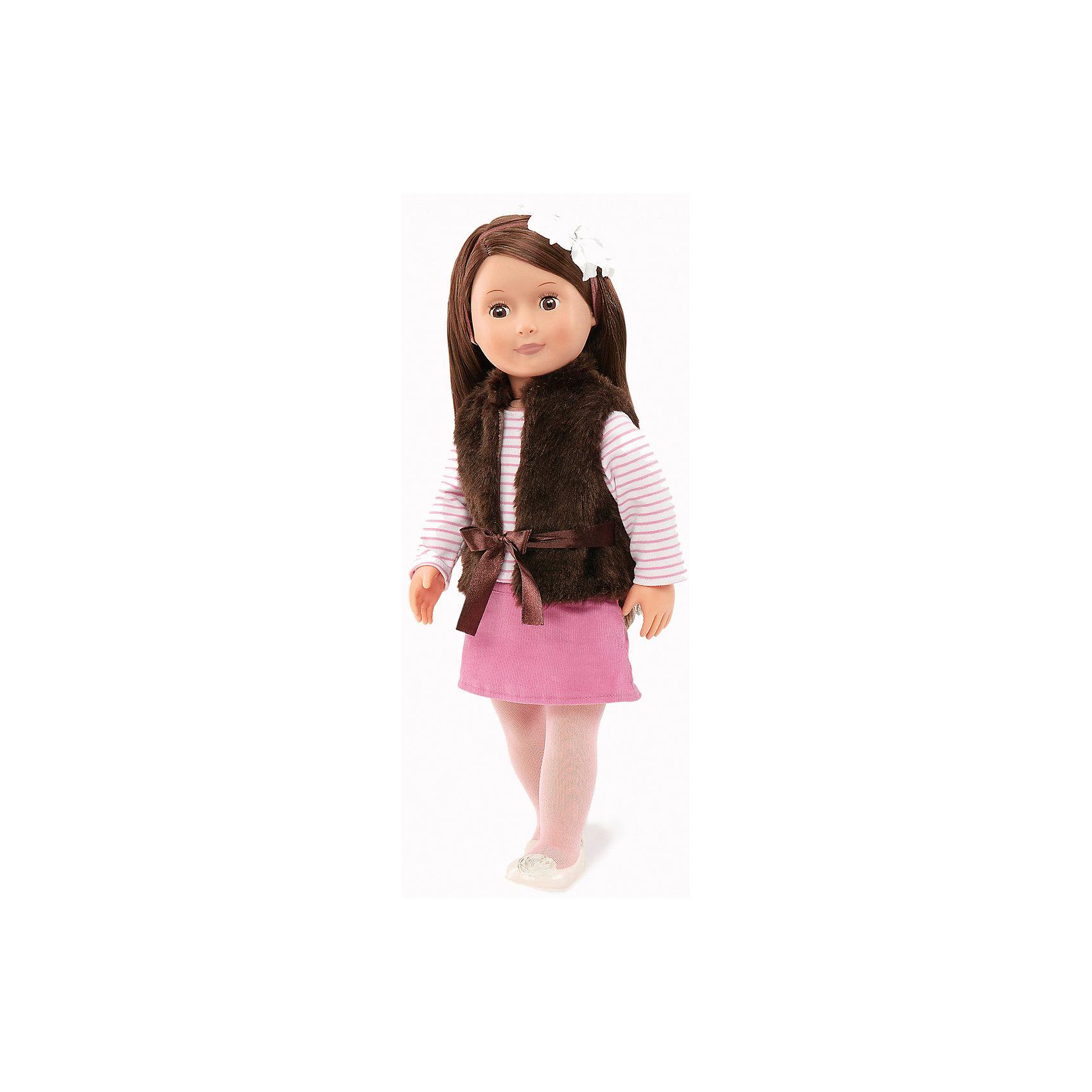 Кукла Сьена, 46 см, Our Generation DollsМягкие куклы<br>Кукла Сьена, 46 см, Our Generation Dolls (Куклы нашего поколения) ? канадская торговая марка компании Battat, которая выпускает экологически безопасных кукол и аксессуары к ним. Куклы данного производителя отличаются выразительными взглядами, мягкими чертами лица. У них подвижные все части тела, глаза закрываются.<br>Сьена – брюнетка с длинними темными волосами и карими глазами. Одета в полосатую кофточку с длинным рукавом, розовую вельветовую юбку, белые туфли и белые колготки. Поверх кофты на Сьене коричневая меховая жилетка на завязках. На голове – белая повязка с цветком. Кукла Сьена непременно станет любимой куклой вашей девочки, особое удовольствие ей доставит делать прически из длинных волос или заплетать косы.<br>Кукла Сьена, 46 см, Our Generation Dolls (Куклы нашего поколения) упакована в подарочную картонную коробку. Играя в куклы, девочка учится заботиться о близких и быть внимательной. <br><br>Дополнительная информация:<br><br>- Вид игр: сюжетно-ролевые<br>- Предназначение: для дома<br>- Материал: пластик, текстиль<br>- Высота куклы: 46 см<br>- Вес: 1 кг 100 г<br>- Особенности ухода: разрешается мыть в теплой мыльной воде<br><br>Подробнее:<br><br>• Для детей в возрасте: от 3 лет<br>• Страна производитель: Китай<br>• Торговый бренд: Our Generation Dolls<br><br>Куклу Сьену, 46 см, Our Generation Dolls (Куклы нашего поколения) можно купить в нашем интернет-магазине.<br><br>Ширина мм: 26<br>Глубина мм: 13<br>Высота мм: 51<br>Вес г: 1500<br>Возраст от месяцев: 36<br>Возраст до месяцев: 2147483647<br>Пол: Унисекс<br>Возраст: Детский<br>SKU: 4871813
