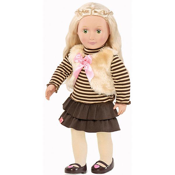 Кукла Холли, 46 см, Our Generation DollsКуклы<br>Кукла Холли, 46 см, Our Generation Dolls (Куклы нашего поколения) ? канадская торговая марка компании Battat, которая выпускает экологически безопасных кукол и аксессуары к ним. Куклы данного производителя отличаются выразительными взглядами, мягкими чертами лица. У них подвижные все части тела, глаза закрываются.<br>Холли – блондинка с шелковистыми и гладкими волосами и зелеными глазами. Комплект одежды Холли состоит из полосатой водолазки, вельветовой юбки с двойным воланом, светлых колготочек, коричневых туфелек. Поверх водолазки на куклу надет меховой жилет на завязках. Длинные волосы куклы позволяют ей делать разнообразные прически.<br>Кукла Холли, 46 см, Our Generation Dolls (Куклы нашего поколения) упакована в картонную коробку. Сюжетно-ролевые ишры с куклами  учат девочку заботиться о близких и быть внимательной. <br><br>Дополнительная информация:<br><br>- Вид игр: сюжетно-ролевые<br>- Предназначение: для дома<br>- Материал: пластик, текстиль<br>- Высота куклы: 46 см<br>- Вес: 1 кг 100 г<br>- Особенности ухода: разрешается мыть в теплой мыльной воде<br><br>Подробнее:<br><br>• Для детей в возрасте: от 3 лет<br>• Страна производитель: Китай<br>• Торговый бренд: Our Generation Dolls<br><br>Куклу Холли, 46 см, Our Generation Dolls (Куклы нашего поколения) можно купить в нашем интернет-магазине.<br><br>Ширина мм: 24<br>Глубина мм: 13<br>Высота мм: 50<br>Вес г: 1500<br>Возраст от месяцев: 36<br>Возраст до месяцев: 2147483647<br>Пол: Унисекс<br>Возраст: Детский<br>SKU: 4871815