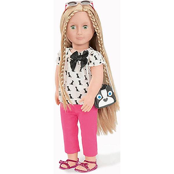 Кукла Бель, 46 см, Our Generation DollsКуклы<br>Кукла Бель, 46 см, Our Generation Dolls (Куклы нашего поколения) ? канадская торговая марка компании Battat, которая выпускает экологически безопасных кукол и аксессуары к ним. Куклы данного производителя отличаются выразительными взглядами, мягкими чертами лица. У них подвижные все части тела, глаза закрываются.<br>Кукла Бель, 46 см, Our Generation Dolls (Куклы нашего поколения) – блондинка с шелковистыми гладкими волосами и зелеными глазами. Комплект летней одежды Бель состоит из блузки с коротким рукавом, у горловины завязан черный бант, розовых штанишек и босоножек. В комплекте с куклой имеются аксессуары: очки и сумочка. Сумочка выполнена в форме мордочки собачки, также силуэты собачек имеются на блузке. Длинные волосы куклы позволяют ей делать разнообразные прически.<br>Кукла Бель, 46 см, Our Generation Dolls (Куклы нашего поколения) упакована в подарочную картонную коробку. Играя в куклы, девочка учится заботиться о близких и быть внимательной. <br><br>Дополнительная информация:<br><br>- Вид игр: сюжетно-ролевые<br>- Предназначение: для дома<br>- Материал: пластик, текстиль<br>- Высота куклы: 46 см<br>- Вес: 1 кг 100 г<br>- Особенности ухода: разрешается мыть в теплой мыльной воде<br><br>Подробнее:<br><br>• Для детей в возрасте: от 3 лет<br>• Страна производитель: Китай<br>• Торговый бренд: Our Generation Dolls<br><br>Куклу Бель, 46 см, Our Generation Dolls (Куклы нашего поколения) можно купить в нашем интернет-магазине.<br><br>Ширина мм: 24<br>Глубина мм: 13<br>Высота мм: 51<br>Вес г: 1500<br>Возраст от месяцев: 36<br>Возраст до месяцев: 2147483647<br>Пол: Унисекс<br>Возраст: Детский<br>SKU: 4871816