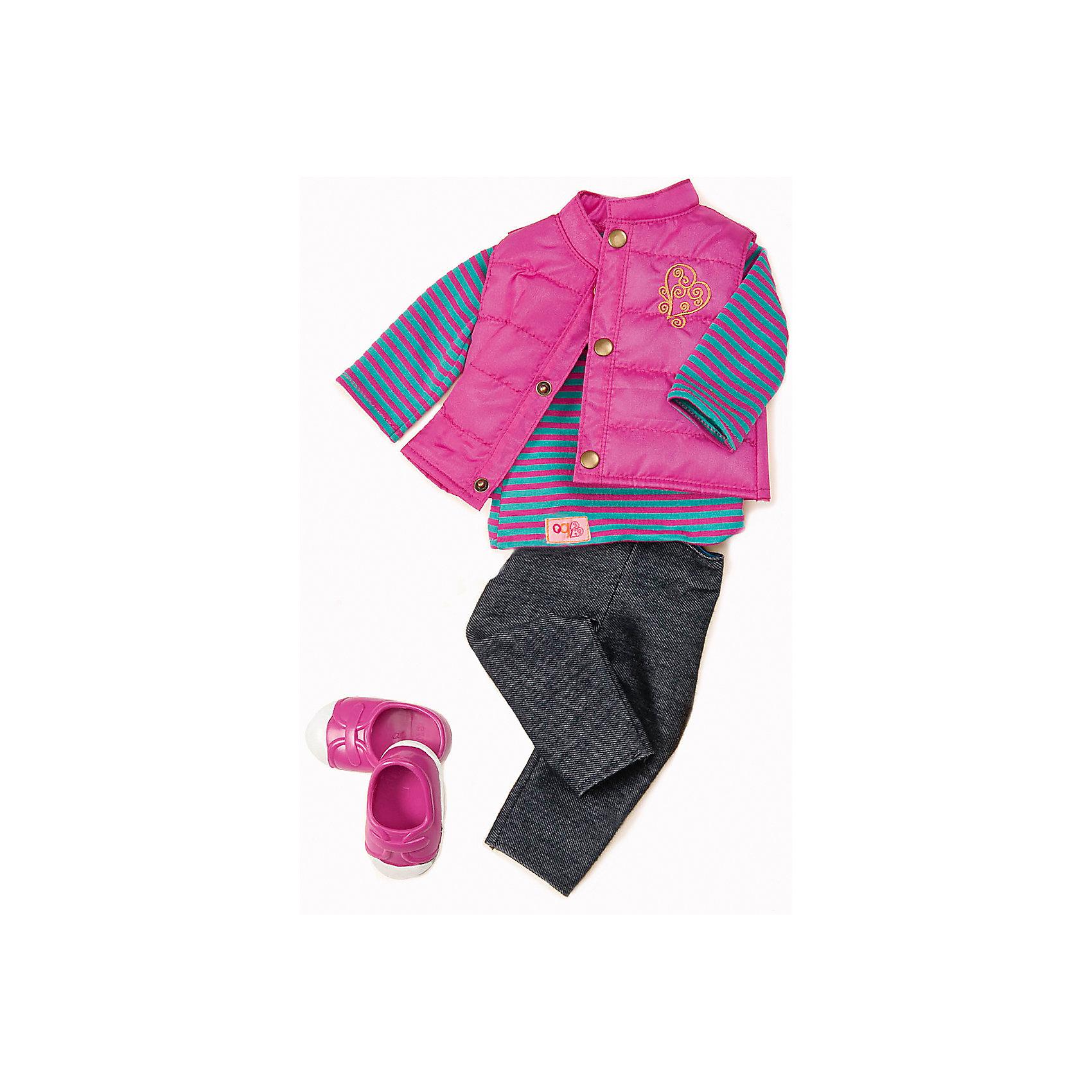 Одежда для куклы, 46 см, Our Generation DollsОдежда для куклы, 46 см, Our Generation Dolls (Куклы нашего поколения).  Our Generation Dolls (Куклы нашего поколения) ? канадская торговая марка компании Battat, которая выпускает экологически безопасных кукол и аксессуары к ним. Комплект одежды предназначен для куклы одноименной марки ростом 46 см, состоит из кофточки в розово-бирюзовую полоску, розовый стеганы жилет с аппликацией на боку, жилет застегивается на кнопки, штанишки и розово-белые кроссовки. На одежде с левой стороны имеются фирменные лейблы. Весь комплект выполнен из материалов высокого качества, с ровными тщательно обработанными краями.<br>Реалистичность элементов одежды позволяет отработать навыки застегивания-расстегивания разного вида застежек, воспитывает аккуратность и опрятность во внешнем виде.  Одежда для куклы, 46 см, Our Generation Dolls (Куклы нашего поколения) ? идеальное решение для подарка девочке на любой праздник. Комплект одежды упакован в картонную коробку, которая трансформируется в подарочный вариант.<br><br>Дополнительная информация:<br><br>- Вид игр: сюжетно-ролевые<br>- Предназначение: для дома<br>- Материал: качественный текстиль<br>- Размер: на куклу Our Generation Dolls ростом 46 см<br>- Комплектация: кофточка, куртка-жилет, штанишки, туфли, каталог одежды<br>- Цвет: розовый, бирюзовый, белый<br>- Особенности ухода: разрешается ручная стирка<br><br>Подробнее:<br><br>• Для детей в возрасте: от 3 лет<br>• Страна производитель: Китай<br>• Торговый бренд: Our Generation Dolls<br><br>Одежду для куклы, 46 см, Our Generation Dolls (Куклы нашего поколения) можно купить в нашем интернет-магазине.<br><br>Ширина мм: 22<br>Глубина мм: 4<br>Высота мм: 33<br>Вес г: 280<br>Возраст от месяцев: 36<br>Возраст до месяцев: 2147483647<br>Пол: Унисекс<br>Возраст: Детский<br>SKU: 4871818