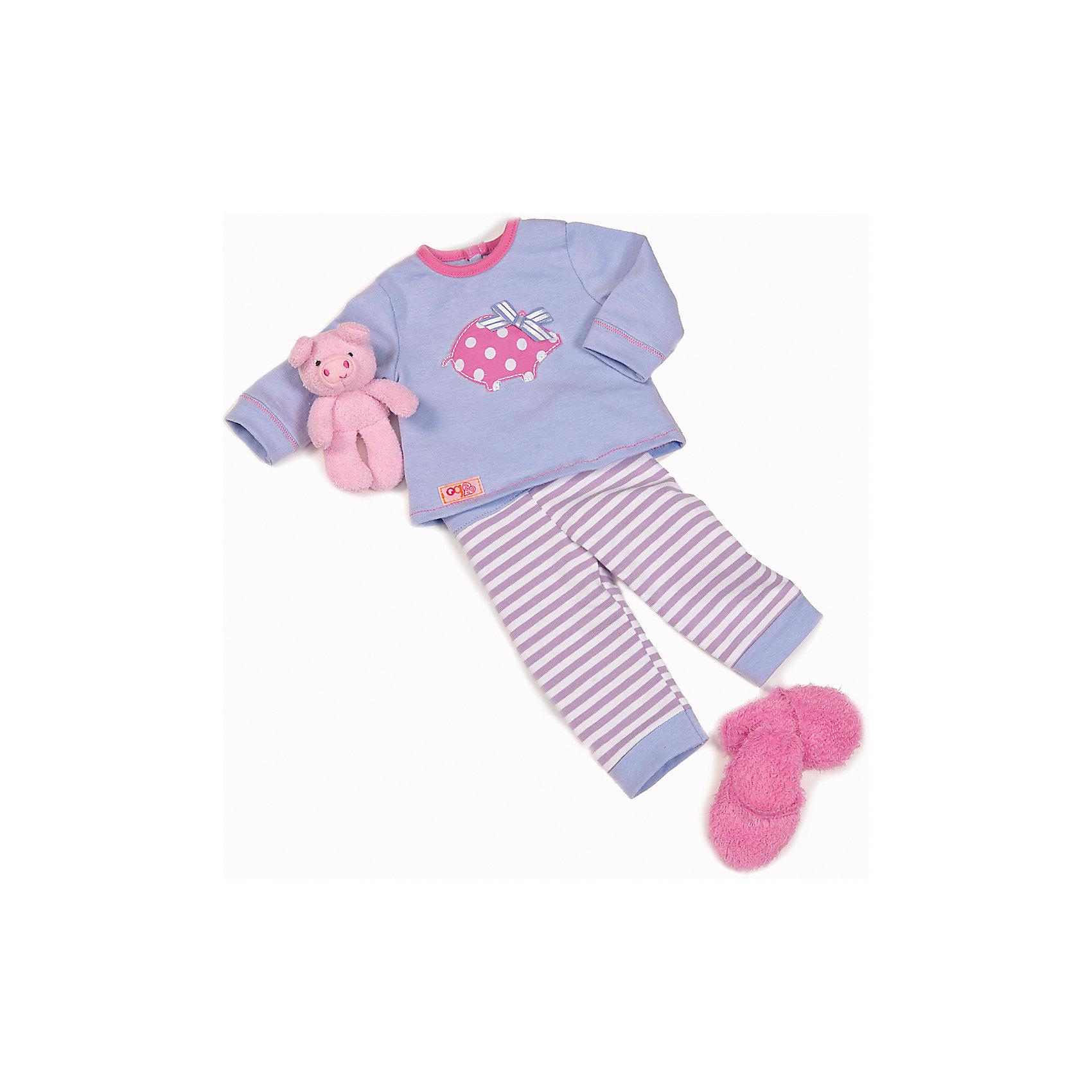 Одежда для куклы, 46 см, Our Generation DollsКуклы-модели<br>Одежда для куклы, 46 см, Our Generation Dolls (Куклы нашего поколения).  Our Generation Dolls (Куклы нашего поколения) ? канадская торговая марка компании Battat, которая выпускает экологически безопасных кукол и аксессуары к ним. Комплект одежды предназначен для куклы одноименной марки ростом 46 см, состоит из пижамы нежных пастельных оттенков, пушистых розовых тапочек и мягкой игрушки для сна. На одежде с левой стороны имеются фирменные лейблы. Весь комплект выполнен из материалов высокого качества, с ровными тщательно обработанными краями.<br>Реалистичность элементов одежды позволяет отработать навыки застегивания-расстегивания разного вида застежек.  <br>Одежда для куклы, 46 см, Our Generation Dolls (Куклы нашего поколения) ? идеальное решение для подарка девочке на любой праздник. Комплект одежды упакован в картонную коробку, которая трансформируется в подарочный вариант.<br><br>Дополнительная информация:<br><br>- Вид игр: сюжетно-ролевые<br>- Предназначение: для дома<br>- Материал: качественный текстиль<br>- Размер: на куклу Our Generation Dolls ростом 46 см<br>- Комплектация: пижама, тапочки, игрушка<br>- Цвет: голубой, розовый<br>- Особенности ухода: разрешается ручная стирка<br><br>Подробнее:<br><br>• Для детей в возрасте: от 3 лет<br>• Страна производитель: Китай<br>• Торговый бренд: Our Generation Dolls<br><br>Одежду для куклы, 46 см, Our Generation Dolls (Куклы нашего поколения) можно купить в нашем интернет-магазине.<br><br>Ширина мм: 22<br>Глубина мм: 4<br>Высота мм: 33<br>Вес г: 270<br>Возраст от месяцев: 36<br>Возраст до месяцев: 2147483647<br>Пол: Унисекс<br>Возраст: Детский<br>SKU: 4871820