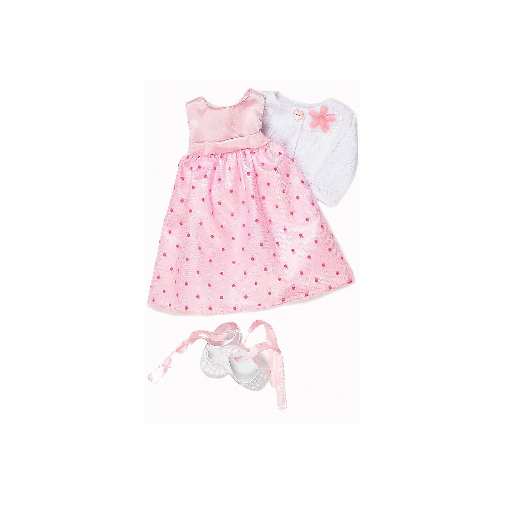 Одежда делюкс для куклы, 46 см, Our Generation DollsКуклы-модели<br>Одежда для куклы, 46 см, Our Generation Dolls (Куклы нашего поколения).  Our Generation Dolls (Куклы нашего поколения) ? канадская торговая марка компании Battat, которая выпускает экологически безопасных кукол и аксессуары к ним. Комплект праздничной одежды предназначен для куклы одноименной марки ростом 46 см, состоит из нежного розового платья в горошек, белой кофточки, застегивающейся на пуговицы, на боковой полочке имеется брошь и балеток на завязках. На одежде с левой стороны имеются фирменные лейблы. Весь комплект выполнен из материалов высокого качества, с ровными тщательно обработанными краями.<br>Реалистичность элементов одежды позволяет отработать навыки застегивания-расстегивания разного вида застежек.<br>Одежда для куклы, 46 см, Our Generation Dolls (Куклы нашего поколения) ? идеальное решение для подарка девочке на любой праздник. Комплект одежды упакован в картонную коробку, которая трансформируется в подарочный вариант.<br><br>Дополнительная информация:<br><br>- Вид игр: сюжетно-ролевые<br>- Предназначение: для дома<br>- Материал: качественный текстиль<br>- Размер: на куклу Our Generation Dolls ростом 46 см<br>- Комплектация: платье, кофточка, балетки<br>- Цвет: розовый, белый<br>- Особенности ухода: разрешается ручная стирка<br><br>Подробнее:<br><br>• Для детей в возрасте: от 3 лет<br>• Страна производитель: Китай<br>• Торговый бренд: Our Generation Dolls<br><br>Одежду для куклы, 46 см, Our Generation Dolls (Куклы нашего поколения) можно купить в нашем интернет-магазине.<br><br>Ширина мм: 23<br>Глубина мм: 4<br>Высота мм: 36<br>Вес г: 230<br>Возраст от месяцев: 36<br>Возраст до месяцев: 2147483647<br>Пол: Унисекс<br>Возраст: Детский<br>SKU: 4871822