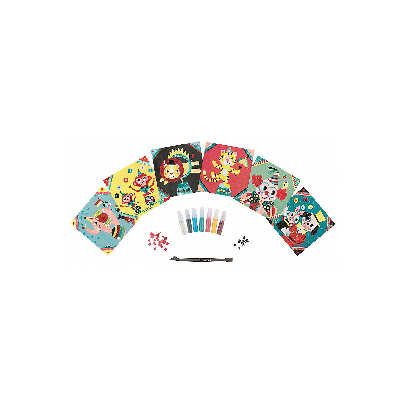 Janod Набор для творчества: посыпаем блестками Цирк, 6 карточек janod каталка на веревочке поезд цирк
