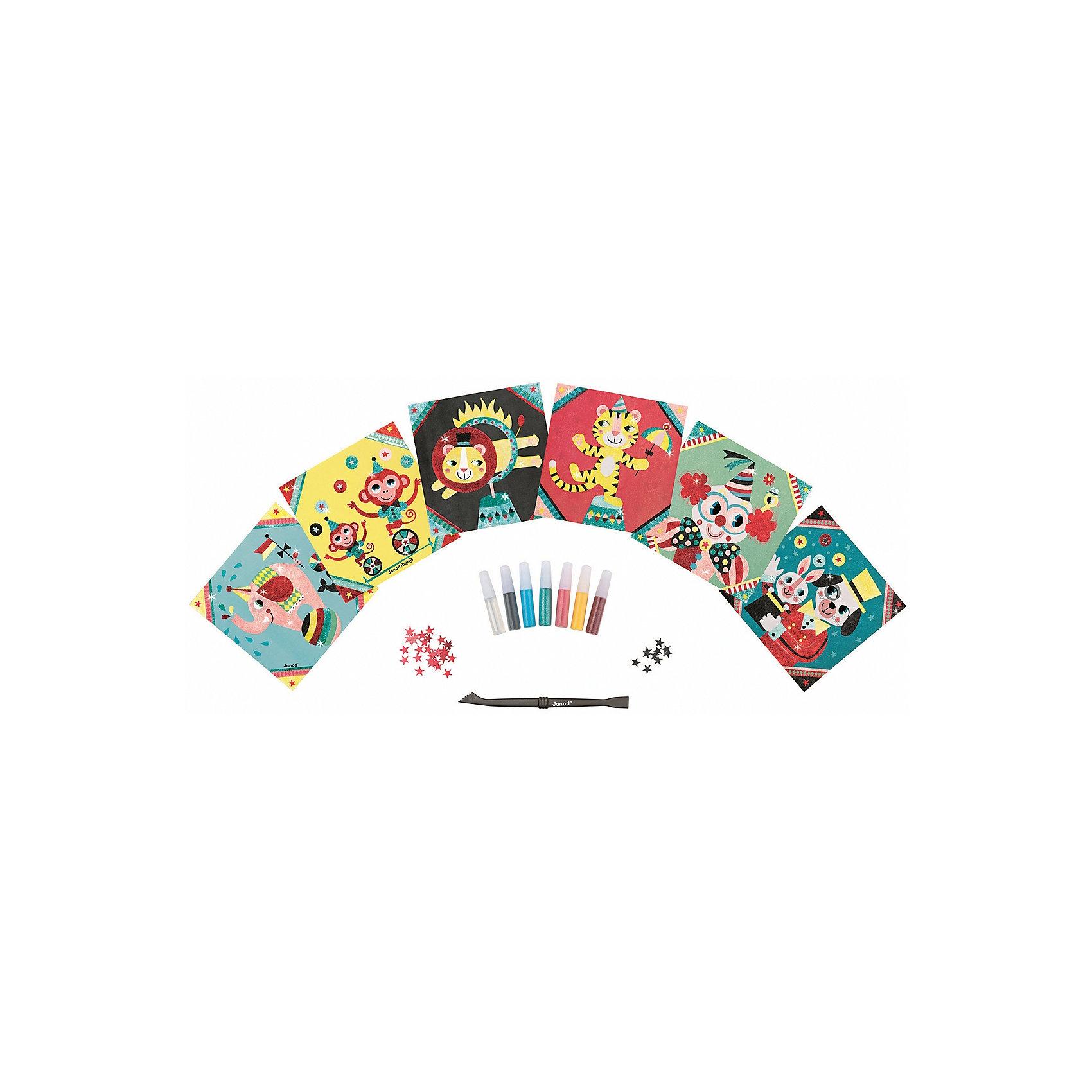 Janod Набор для творчества: посыпаем блестками Цирк, 6 карточек janod пазл я мама 4 в 1