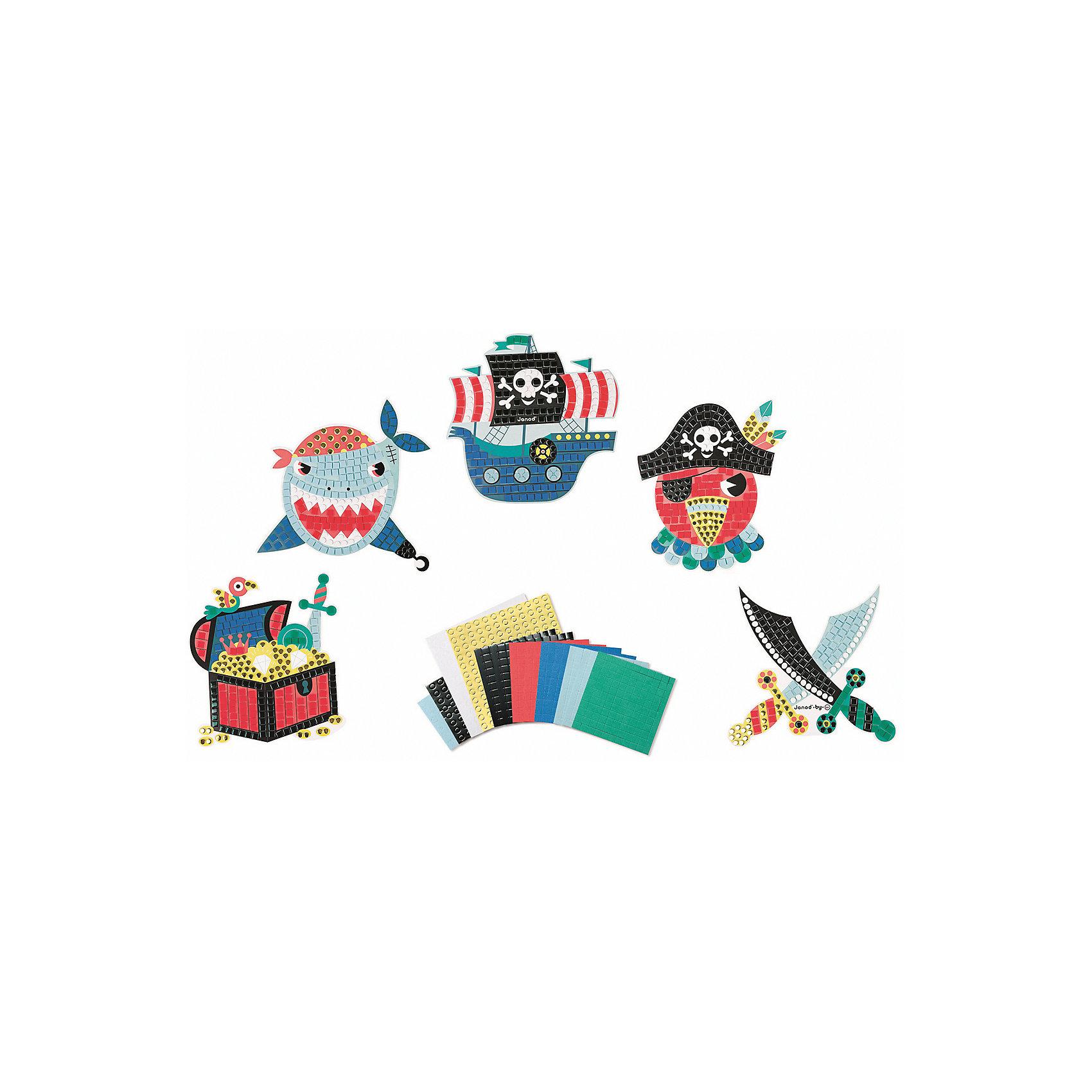 Janod Набор для творчества: мозайка Пираты, 5 карточек janod пазл я мама 4 в 1