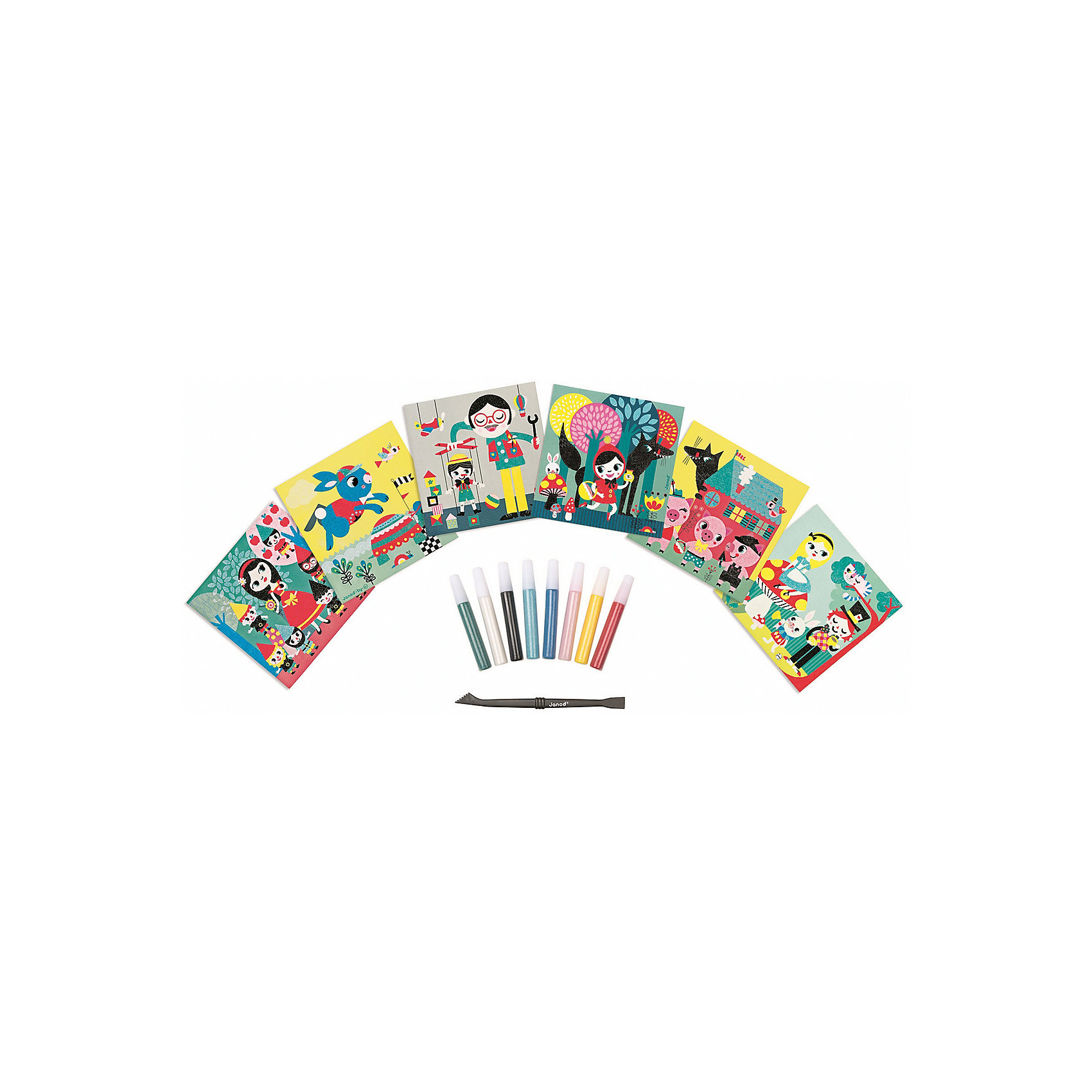Janod Набор для творчества: посыпаем блестками Сказки, 6 карточек janod в квадратном чемоданчике пилот
