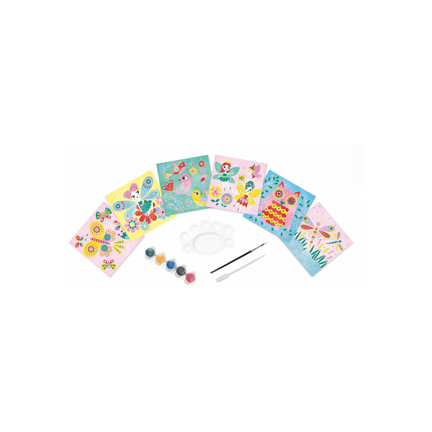 Набор для творчества: рисуем водой. Феи, 6 карточекПесочные картинки<br>Набор для творчества: рисуем водой Феи, 6 карточек, Janod (Джанод)<br><br>Характеристики:<br><br>• можно создать новые цвета<br>• полностью безопасен для детей<br>• удобно хранить<br>• в комплекте: краски, палитра, кисточка, пипетка, чемоданчик, карточки<br>• размер упаковки: 26х4 22 см<br>• вес: 700 грамм<br><br>Набор Феи предназначен для веселого и интересного детского творчества. В набор входят 6 карточек, которые ребенку предстоит раскрасить водными красками. Подробная инструкция расскажет, как правильно смешивать и создавать новые цвета при помощи палитры и пипетки. Рисование развивает художественный вкус, аккуратность и усидчивость. Этот набор непременно понравится ребенку!<br><br>Набор для творчества: рисуем водой Феи, 6 карточек, Janod (Джанод) можно купить в нашем интернет-магазине.<br><br>Ширина мм: 26<br>Глубина мм: 21<br>Высота мм: 4<br>Вес г: 600<br>Возраст от месяцев: 48<br>Возраст до месяцев: 2147483647<br>Пол: Женский<br>Возраст: Детский<br>SKU: 4871834