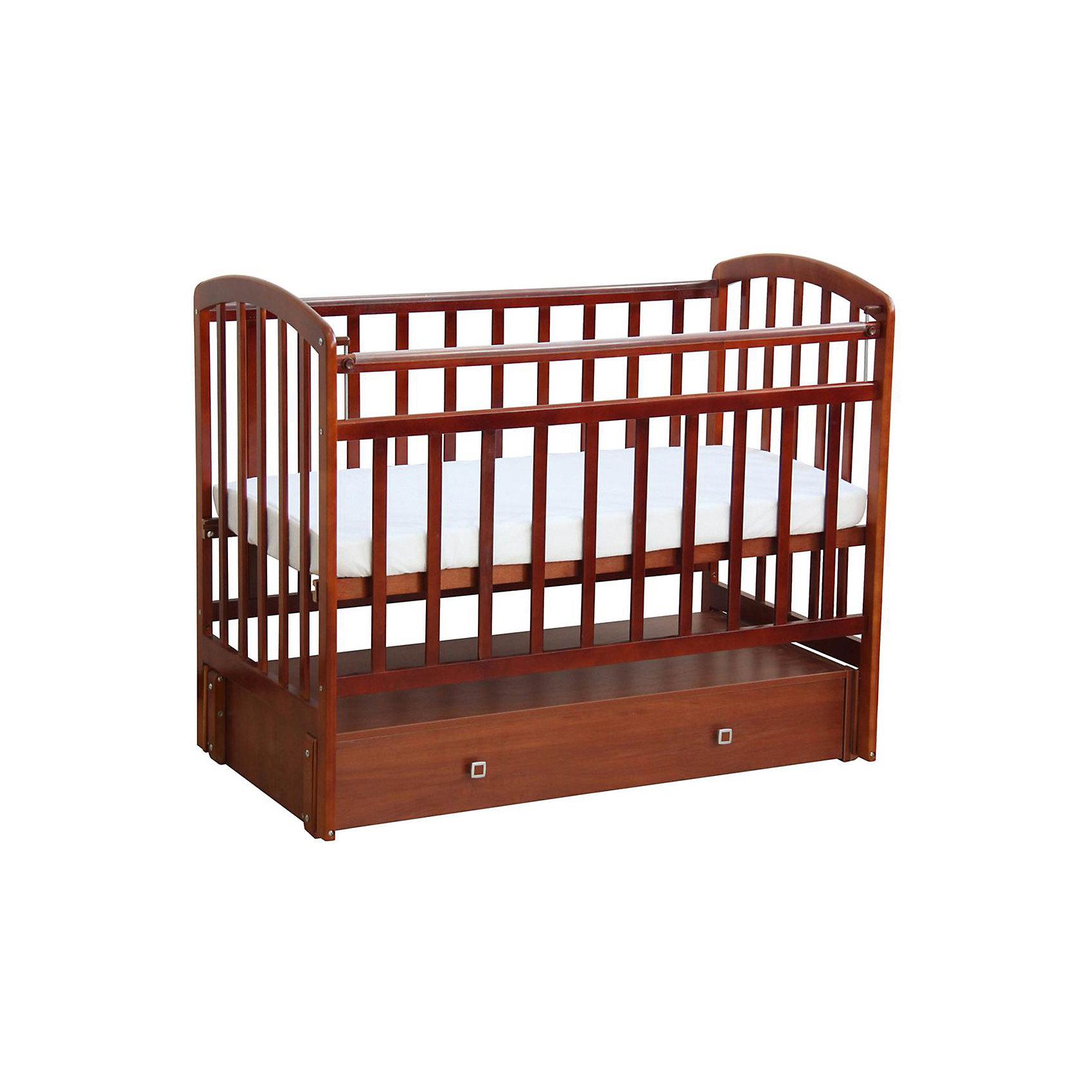 Кроватка 313, продольный маятник, Фея, орехКроватки<br>Детская мебель всегда отличается от взрослой, так как производится с учетом потребностей малышей. Данная кроватка обеспечит удобство и ребенку и маме - она имеет удобный механизм опускания передней планки и пластиковые накладки.<br>В этой модели - маятниковый механизм продольного качания, также есть удобный ящик. Кроватка сделана из качественного дерева, покрытого лаком. Цвет - универсальный, подойдет практически для любого интерьера. Все материалы тщательно подобраны специалистами и безопасны для детей.<br><br>Дополнительная информация:<br><br>цвет: орех;<br>материал: дерево, лак;<br>передняя планка удобно опускается;<br>выдвижной ящик;<br>ложе имеет 2 положения;<br>пластиковые накладки;<br>размер: 125 х 75 х 104 см ;<br>ложе: 60 на 120 см;<br>вес: 30 кг.<br><br>Кроватку 313 торговой марки Фея можно купить в нашем магазине.<br><br>Ширина мм: 750<br>Глубина мм: 1037<br>Высота мм: 1265<br>Вес г: 30500<br>Возраст от месяцев: 0<br>Возраст до месяцев: 36<br>Пол: Унисекс<br>Возраст: Детский<br>SKU: 4873615