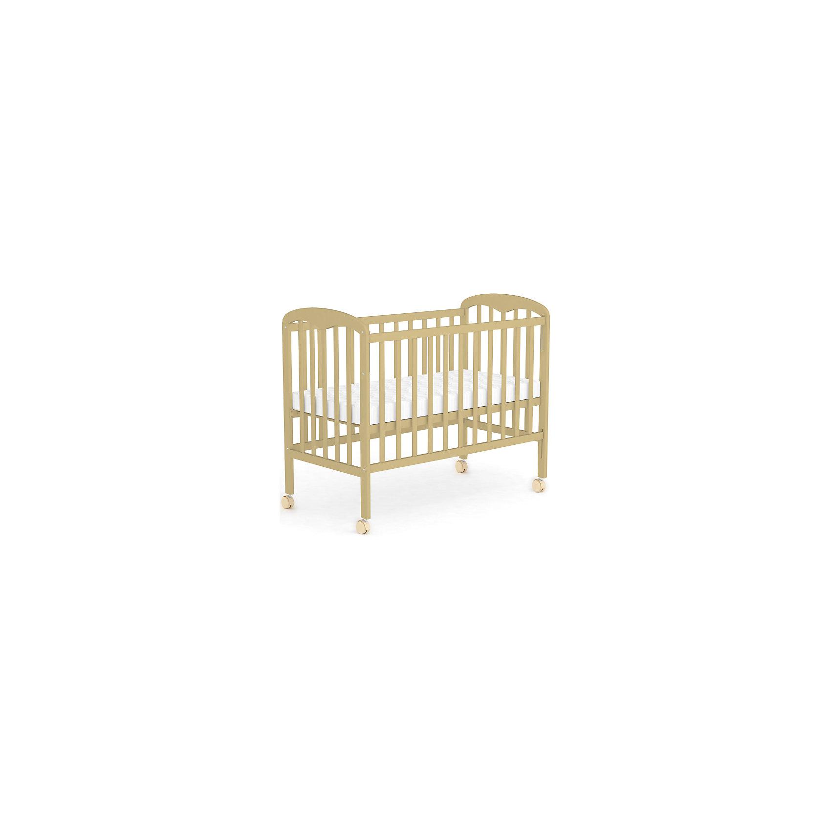 Кроватка 323, Фея, натуральныйКроватки<br>Правильная детская мебель всегда отличается от взрослой, так как производится с учетом потребностей малышей. Данная кроватка обеспечит удобство и ребенку и маме - она имеет удобный механизм опускания передней планки и колесики, с помощью которых кроватку можно перемещать.<br>Кроватка сделана из качественного дерева, покрытого лаком. Цвет - универсальный, подойдет практически для любого интерьера. Все материалы тщательно подобраны специалистами и безопасны для детей.<br><br>Дополнительная информация:<br><br>цвет: дерево;<br>материал: дерево, лак;<br>передняя планка удобно опускается;<br>ложе имеет 2 положения;<br>колёсики;<br>размер: 124,8 х 74,4 х 112 см ;<br>ложе: 60 на 120 см;<br>вес: 17,5 кг.<br><br>Кроватку 323 торговой марки Фея можно купить в нашем магазине.<br><br>Ширина мм: 1248<br>Глубина мм: 744<br>Высота мм: 1120<br>Вес г: 17500<br>Возраст от месяцев: 0<br>Возраст до месяцев: 36<br>Пол: Унисекс<br>Возраст: Детский<br>SKU: 4873617
