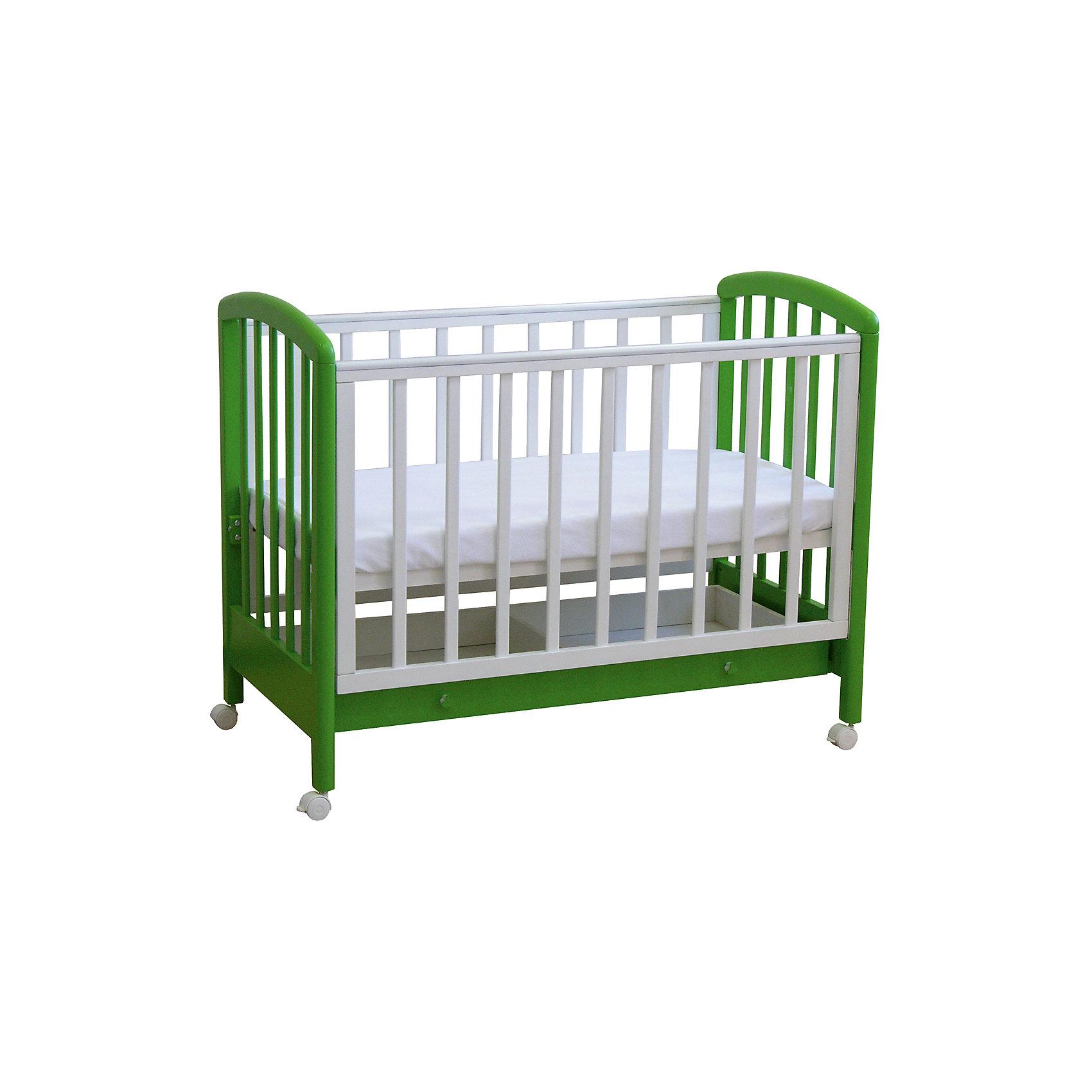 Кроватка 600, выдвижной ящик,Фея, белый-лаймКроватки<br>Качественная детская мебель всегда отличается от взрослой, так как производится с учетом потребностей малышей. Данная кроватка обеспечит удобство и ребенку и маме - она имеет удобный механизм опускания передней планки и колесики, с помощью которых кроватку можно перемещать.<br>В этой модели также есть удобный ящик. Кроватка сделана из качественного дерева, покрытого лаком. Цвет - приятный и оригинальный, подойдет практически для любого интерьера. Все материалы тщательно подобраны специалистами и безопасны для детей.<br><br>Дополнительная информация:<br><br>цвет: белый-лайм;<br>материал: береза, лак;<br>передняя планка удобно опускается;<br>выдвижной ящик;<br>ложе имеет 2 положения;<br>колёсики;<br>накладки ПВХ;<br>ортопедической основание;<br>размер:  128 х 70 х 103 см ;<br>ложе: 60 на 120 см;<br>вес: 28 кг.<br><br>Кроватку 600 торговой марки Фея можно купить в нашем магазине.<br><br>Ширина мм: 1280<br>Глубина мм: 696<br>Высота мм: 1030<br>Вес г: 28150<br>Возраст от месяцев: 0<br>Возраст до месяцев: 36<br>Пол: Унисекс<br>Возраст: Детский<br>SKU: 4873618
