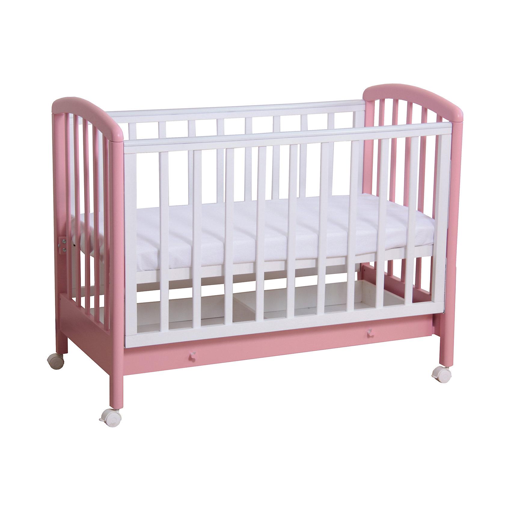 Кроватка 600, выдвижной ящик, Фея, белый-розовыйКроватки<br>Правильная детская мебель всегда отличается от взрослой, так как производится с учетом потребностей малышей. Данная кроватка обеспечит удобство и ребенку и маме - она имеет удобный механизм опускания передней планки и колесики, с помощью которых кроватку можно перемещать.<br>В этой модели также есть удобный ящик. Кроватка сделана из качественного дерева, покрытого лаком. Цвет - приятный и оригинальный, подойдет практически для любого интерьера. Все материалы тщательно подобраны специалистами и безопасны для детей.<br><br>Дополнительная информация:<br><br>цвет: белый-розовый;<br>материал: береза, лак;<br>передняя планка удобно опускается;<br>выдвижной ящик;<br>ложе имеет 2 положения;<br>колёсики;<br>накладки ПВХ;<br>ортопедической основание;<br>размер:  128 х 70 х 103 см ;<br>ложе: 60 на 120 см;<br>вес: 28 кг.<br><br>Кроватку 600 торговой марки Фея можно купить в нашем магазине.<br><br>Ширина мм: 1280<br>Глубина мм: 696<br>Высота мм: 1030<br>Вес г: 28150<br>Возраст от месяцев: 0<br>Возраст до месяцев: 36<br>Пол: Женский<br>Возраст: Детский<br>SKU: 4873619