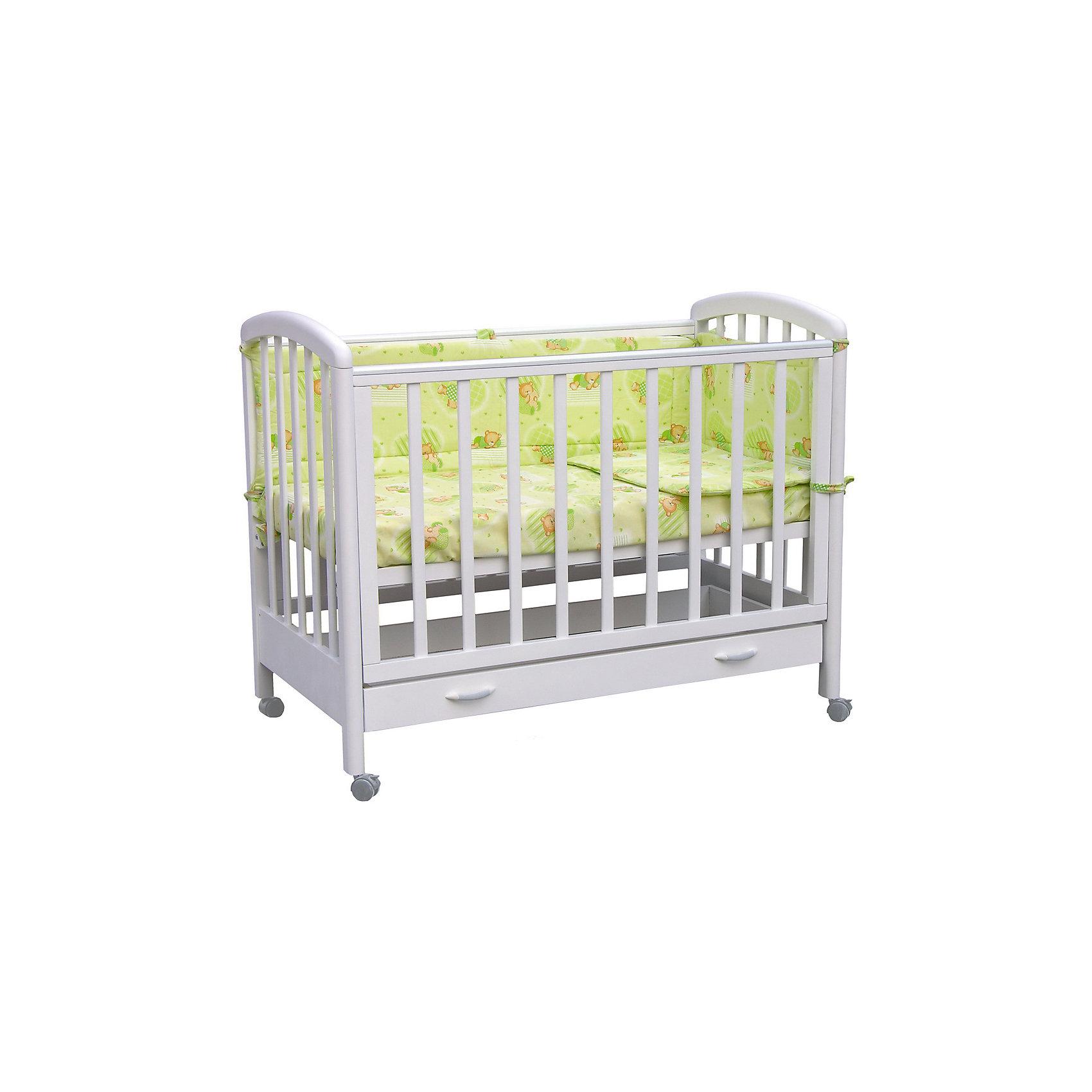 Кроватка 600, выдвижной ящик, Фея, белыйКачественная детская мебель всегда отличается от взрослой, так как производится с учетом потребностей малышей. Данная кроватка обеспечит удобство и ребенку и маме - она имеет удобный механизм опускания передней планки и колесики, с помощью которых кроватку можно перемещать.<br>В этой модели также есть удобный ящик. Кроватка сделана из качественного дерева, покрытого лаком. Цвет - приятный и универсальный, подойдет практически для любого интерьера. Все материалы тщательно подобраны специалистами и безопасны для детей.<br><br>Дополнительная информация:<br><br>цвет: белый;<br>материал: береза, лак;<br>передняя планка удобно опускается;<br>выдвижной ящик;<br>ложе имеет 2 положения;<br>колёсики;<br>накладки ПВХ;<br>ортопедической основание;<br>размер:  128 х 70 х 103 см ;<br>ложе: 60 на 120 см;<br>вес: 28 кг.<br><br>Кроватку 600 торговой марки Фея можно купить в нашем магазине.<br><br>Ширина мм: 1280<br>Глубина мм: 696<br>Высота мм: 1030<br>Вес г: 9999<br>Возраст от месяцев: 0<br>Возраст до месяцев: 36<br>Пол: Женский<br>Возраст: Детский<br>SKU: 4873620