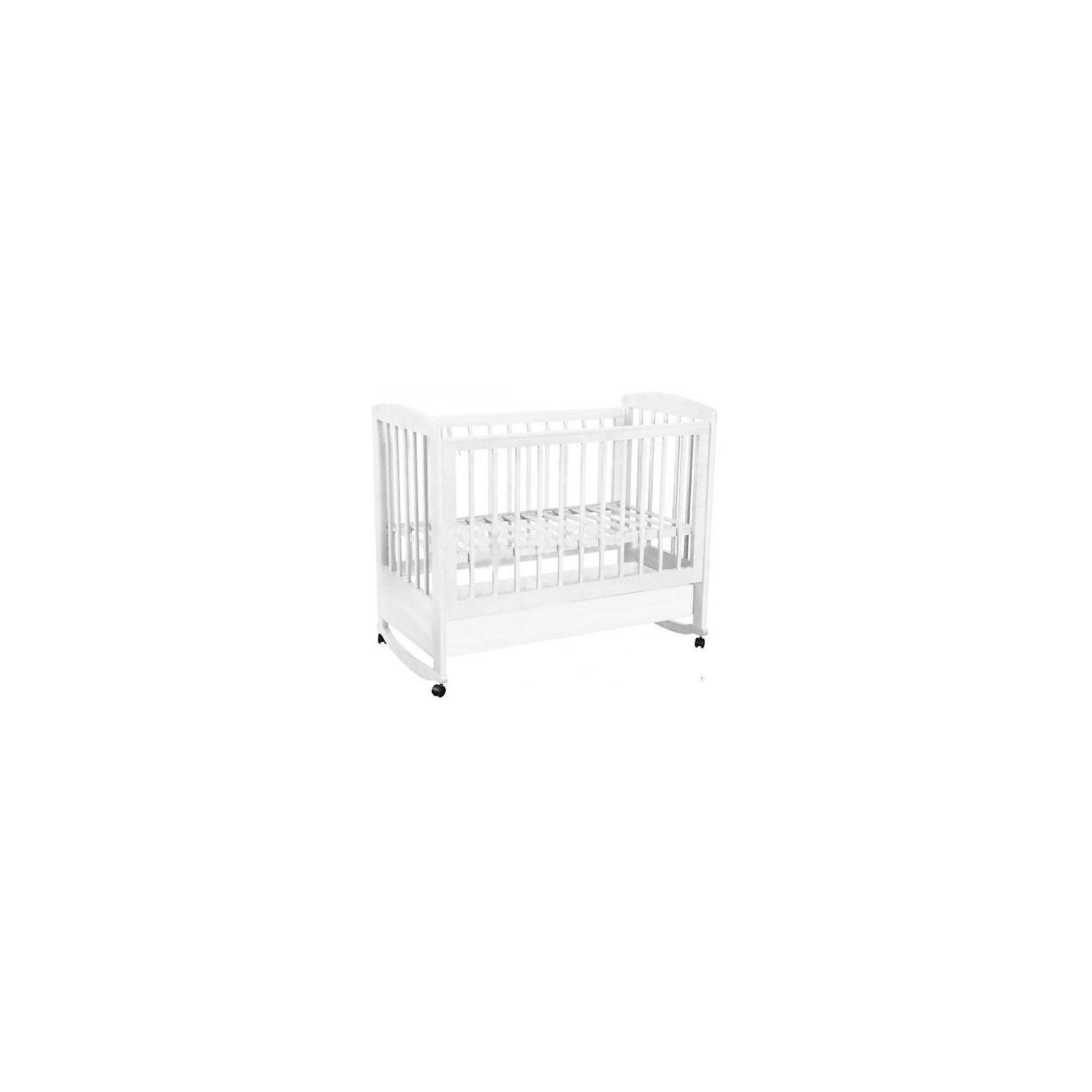 Кроватка 603, Фея, белыйКроватки<br>Хорошая детская мебель всегда отличается от взрослой, так как производится с учетом потребностей малышей. Данная кроватка обеспечит удобство и ребенку и маме - она имеет удобный механизм опускания передней планки и колесики, с помощью которых кроватку можно перемещать.<br>В этой модели также есть удобный ящик и качалка. Кроватка сделана из качественного дерева, покрытого лаком. Цвет - приятный и универсальный, подойдет практически для любого интерьера. Все материалы тщательно подобраны специалистами и безопасны для детей.<br><br>Дополнительная информация:<br><br>цвет: белый;<br>материал: береза, лак;<br>передняя планка удобно опускается;<br>выдвижной ящик;<br>ложе имеет 2 положения;<br>колёсики;<br>накладки ПВХ;<br>ортопедической основание;<br>размер:  128 х 76 х103,8 см ;<br>ложе: 60 на 120 см;<br>вес: 27 кг.<br><br>Кроватку 603 торговой марки Фея можно купить в нашем магазине.<br><br>Ширина мм: 1280<br>Глубина мм: 696<br>Высота мм: 1030<br>Вес г: 28150<br>Возраст от месяцев: 0<br>Возраст до месяцев: 36<br>Пол: Унисекс<br>Возраст: Детский<br>SKU: 4873621