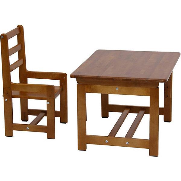 Комплект детской мебели Растем вместе, Фея, орехДетские столы и стулья<br>Качественная детская мебель всегда отличается от взрослой, так как производится с учетом строения тела малыша и того, что он быстро растет. Данный комплект состоит из стульчика и столика, размер которых можно менять и подстраивать под рост ребенка. Эту мебель можно использовать и для игр, и для кормления, и для обучения.<br>Предметы мебели сделаны из дерева, покрытого лаком. Угол наклона стола можно менять в зависимости от его назначения в данный момент. Все материалы тщательно подобраны специалистами и безопасны для детей.<br><br>Дополнительная информация:<br><br>цвет: орех;<br>материал: дерево;<br>размеры стола: 70 х 55 х 46 см (три уровня высоты: 46, 52, 58 см);<br>размеры стула: 330 х 34 х 64 см (три уровня высоты: 26, 30, 34 см);<br>вес набора: 5,2 кг.<br><br>Комплект детской мебели Растем вместе торговой марки Фея можно купить в нашем магазине.<br><br>Ширина мм: 644<br>Глубина мм: 470<br>Высота мм: 640<br>Вес г: 12300<br>Возраст от месяцев: 36<br>Возраст до месяцев: 120<br>Пол: Унисекс<br>Возраст: Детский<br>SKU: 4873623