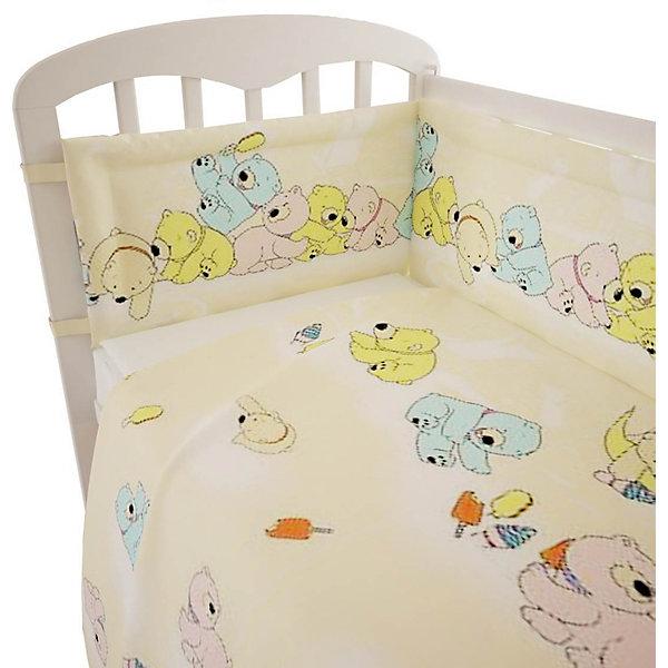 Постельное белье Мишки 3 пред., Фея, желтыйПостельное белье в кроватку новорождённого<br>Качественное постельное белье для детей делается из натуральных материалов. Этот комплект, состоящий  из наволочки, простыни и пододеяльника, сшит из хлопка, гипоаллергенного, приятного на ощупь и позволяющего коже дышать.<br>Все предметы из набора - стандартных размеров, отлично подойдут к обычной подушке, матрасу и одеялу. Комплект украшен принтом с яркими мишками - на нем малышу будет приятно засыпать! Симпатичная расцветка комплекта отлично подойдет к интерьеру детской.<br><br>Дополнительная информация:<br><br>цвет: желтый, принт;<br>материал: 100% хлопок;<br>наволочка: 40х60 см,<br>простыня: 160х100 см,<br>пододеяльник: 110х140 см.<br><br>Постельное белье Мишки 3 пред., торговой марки Фея можно купить в нашем магазине.<br><br>Ширина мм: 570<br>Глубина мм: 410<br>Высота мм: 570<br>Вес г: 510<br>Возраст от месяцев: 0<br>Возраст до месяцев: 36<br>Пол: Унисекс<br>Возраст: Детский<br>SKU: 4873629
