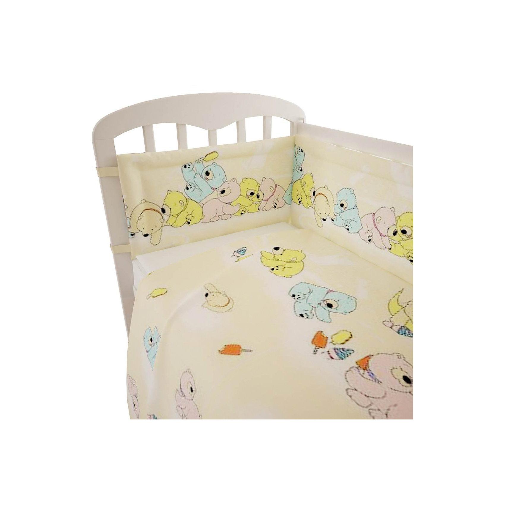 Постельное белье Мишки 3 пред., Фея, желтыйПостельное бельё<br>Качественное постельное белье для детей делается из натуральных материалов. Этот комплект, состоящий  из наволочки, простыни и пододеяльника, сшит из хлопка, гипоаллергенного, приятного на ощупь и позволяющего коже дышать.<br>Все предметы из набора - стандартных размеров, отлично подойдут к обычной подушке, матрасу и одеялу. Комплект украшен принтом с яркими мишками - на нем малышу будет приятно засыпать! Симпатичная расцветка комплекта отлично подойдет к интерьеру детской.<br><br>Дополнительная информация:<br><br>цвет: желтый, принт;<br>материал: 100% хлопок;<br>наволочка: 40х60 см,<br>простыня: 160х100 см,<br>пододеяльник: 110х140 см.<br><br>Постельное белье Мишки 3 пред., торговой марки Фея можно купить в нашем магазине.<br><br>Ширина мм: 570<br>Глубина мм: 410<br>Высота мм: 570<br>Вес г: 510<br>Возраст от месяцев: 0<br>Возраст до месяцев: 36<br>Пол: Унисекс<br>Возраст: Детский<br>SKU: 4873629