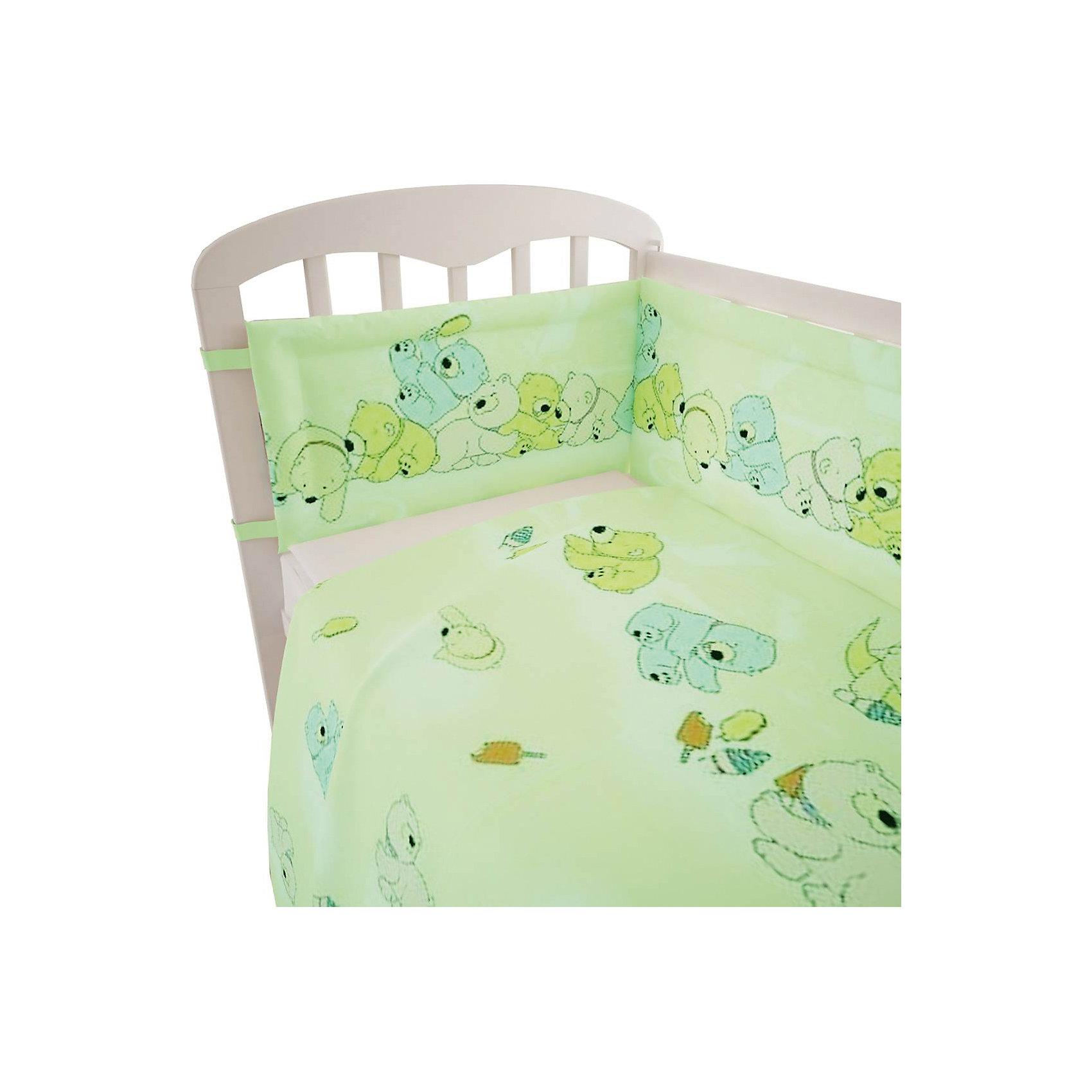Постельное белье Мишки 3 пред., Фея, зеленыйПостельное бельё<br>Лучшее постельное белье для детей делается из натуральных материалов. Этот комплект, состоящий  из наволочки, простыни и пододеяльника, сшит из хлопка, гипоаллергенного, приятного на ощупь и позволяющего коже дышать.<br>Все предметы из набора - стандартных размеров, отлично подойдут к обычной подушке, матрасу и одеялу. Комплект украшен принтом с яркими мишками - на нем малышу будет приятно засыпать! Симпатичная расцветка комплекта отлично подойдет к интерьеру детской.<br><br>Дополнительная информация:<br><br>цвет: зеленый, принт;<br>материал: 100% хлопок;<br>наволочка: 40х60 см,<br>простыня: 160х100 см,<br>пододеяльник: 110х140 см.<br><br>Постельное белье Мишки 3 пред., торговой марки Фея можно купить в нашем магазине.<br><br>Ширина мм: 570<br>Глубина мм: 410<br>Высота мм: 570<br>Вес г: 510<br>Возраст от месяцев: 0<br>Возраст до месяцев: 36<br>Пол: Унисекс<br>Возраст: Детский<br>SKU: 4873630
