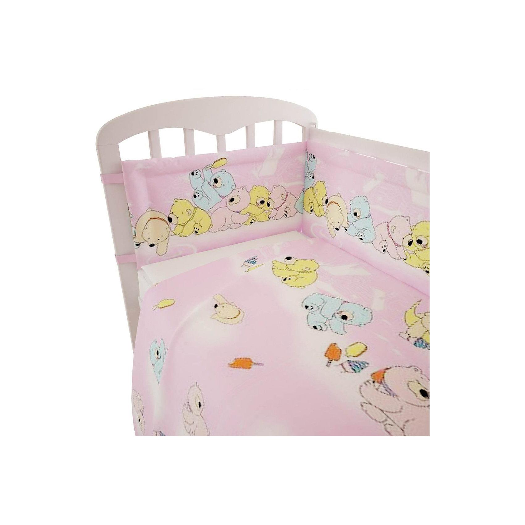 Постельное белье Мишки 3 пред., Фея, розовыйХорошее постельное белье для детей делается из натуральных материалов. Этот комплект, состоящий  из наволочки, простыни и пододеяльника, сшит из хлопка, гипоаллергенного, приятного на ощупь и позволяющего коже дышать.<br>Все предметы из набора - стандартных размеров, отлично подойдут к обычной подушке, матрасу и одеялу. Комплект украшен принтом с яркими мишками - на нем малышу будет приятно засыпать! Симпатичная расцветка комплекта отлично подойдет к интерьеру детской.<br><br>Дополнительная информация:<br><br>цвет: розовый, принт;<br>материал: 100% хлопок;<br>наволочка: 40х60 см,<br>простыня: 160х100 см,<br>пододеяльник: 110х140 см.<br><br>Постельное белье Мишки 3 пред., торговой марки Фея можно купить в нашем магазине.<br><br>Ширина мм: 570<br>Глубина мм: 410<br>Высота мм: 570<br>Вес г: 510<br>Возраст от месяцев: 0<br>Возраст до месяцев: 36<br>Пол: Женский<br>Возраст: Детский<br>SKU: 4873631