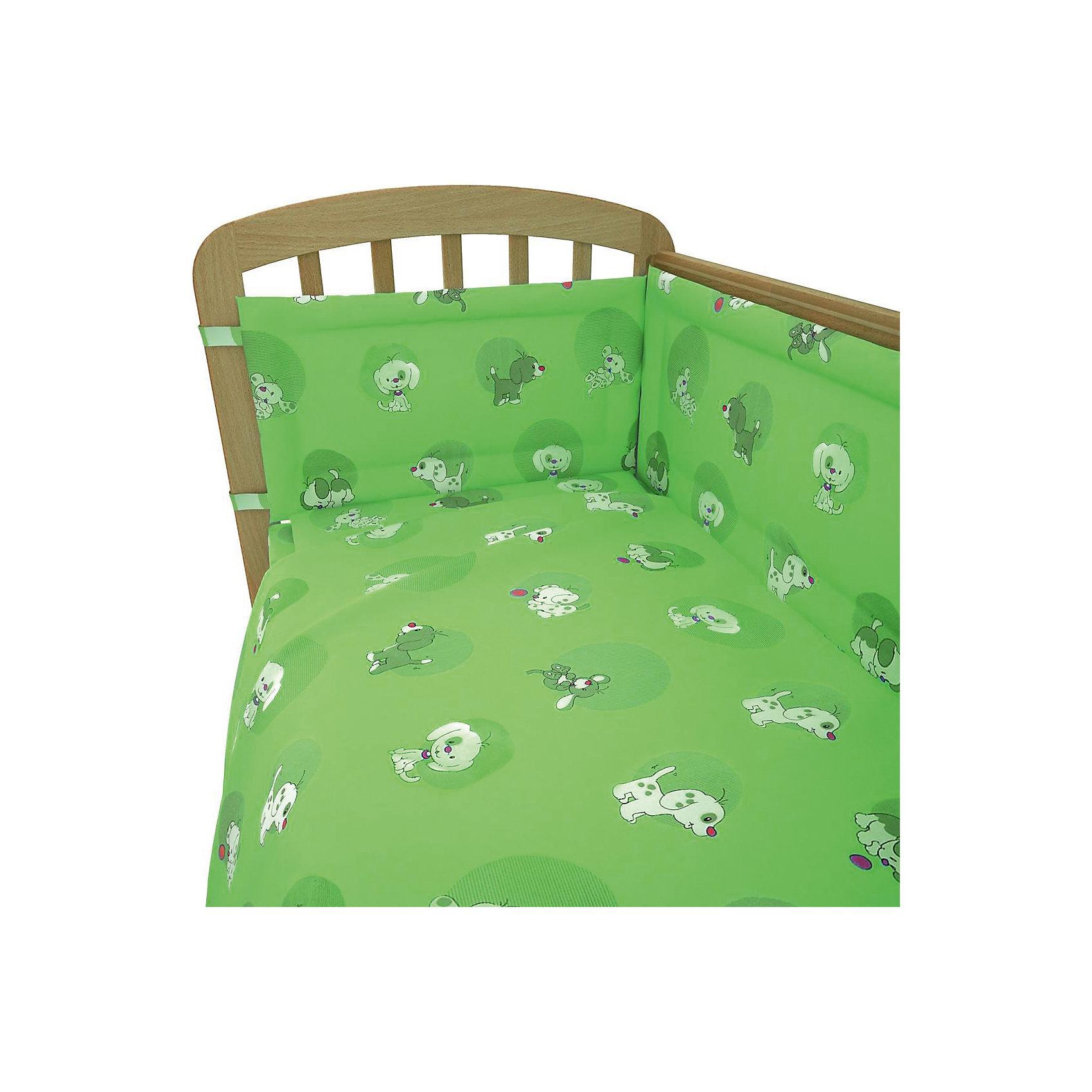Постельное белье Наши друзья 3 пред., Фея, зеленыйПостельное бельё<br>Хорошее постельное белье для детей делается из натуральных материалов. Этот комплект, состоящий  из наволочки, простыни и пододеяльника, сшит из хлопка, гипоаллергенного, приятного на ощупь и позволяющего коже дышать.<br>Все предметы из набора - стандартных размеров, отлично подойдут к обычной подушке, матрасу и одеялу. Простыня - на резинке, это поможет обеспечить малышу комфорт на всю ночь. Комплект украшен принтом с щенками - на нем малышу будет приятно засыпать! Симпатичная расцветка комплекта отлично подойдет к интерьеру детской.<br><br>Дополнительная информация:<br><br>цвет: зеленый, принт;<br>материал: 100% хлопок;<br>наволочка: 40 х 60 см,<br>простыня на резинке: 120 х 60 см,<br>пододеяльник: 110 х 140 см.<br><br>Постельное белье Наши друзья 3 пред., торговой марки Фея можно купить в нашем магазине.<br><br>Ширина мм: 500<br>Глубина мм: 600<br>Высота мм: 100<br>Вес г: 700<br>Возраст от месяцев: 0<br>Возраст до месяцев: 36<br>Пол: Унисекс<br>Возраст: Детский<br>SKU: 4873633