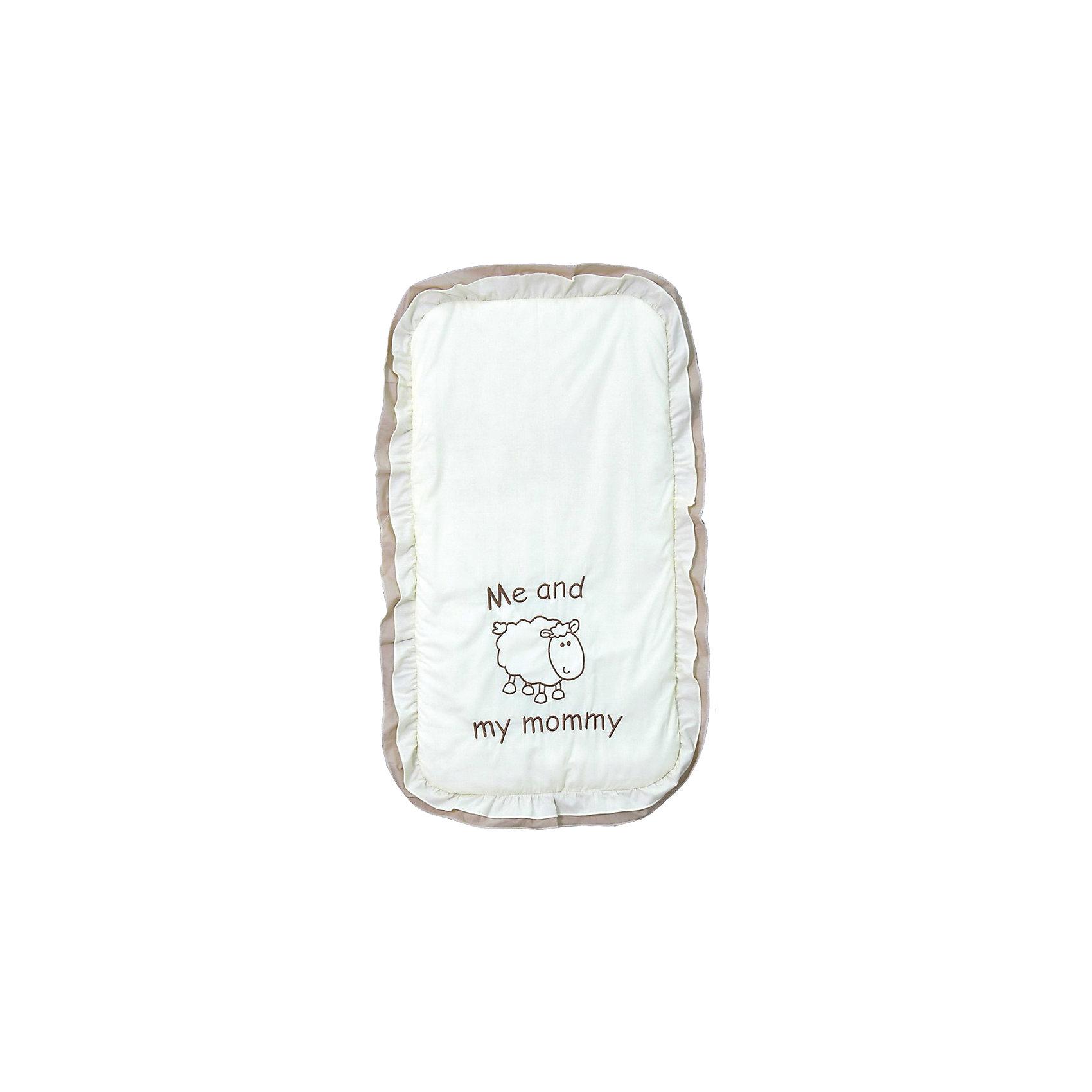 Комплект в детскую коляску Я и моя мама, FairyАксессуары для колясок<br>Постельное белье малышу требуется не только в кроватке - коляска тоже должна быть оборудована удобным комплектом. Хорошее постельное белье для детей делается из натуральных материалов. Этот комплект, состоящий из матрасика и подушки, сшит из хлопка, гипоаллергенного, приятного на ощупь и позволяющего коже дышать.<br>Все предметы из набора - стандартных размеров, отлично подойдут к обычной коляске. Комплект утеплен холлофайбером, это поможет обеспечить малышу комфорт и тепло. Комплект украшен оборками и вышивкой. Симпатичная расцветка набора отлично подойдет к любой коляске и одежде малыша.<br><br>Дополнительная информация:<br><br>цвет: белый, бежевый;<br>материал: 100% хлопок, холлофайбер;<br>матрасик 75х40х2 см;<br>подушка 40х30х2 см.<br><br>Комплект в детскую коляску Я и моя мама торговой марки Фея можно купить в нашем магазине.<br><br>Ширина мм: 750<br>Глубина мм: 400<br>Высота мм: 20<br>Вес г: 300<br>Возраст от месяцев: 0<br>Возраст до месяцев: 36<br>Пол: Унисекс<br>Возраст: Детский<br>SKU: 4873638