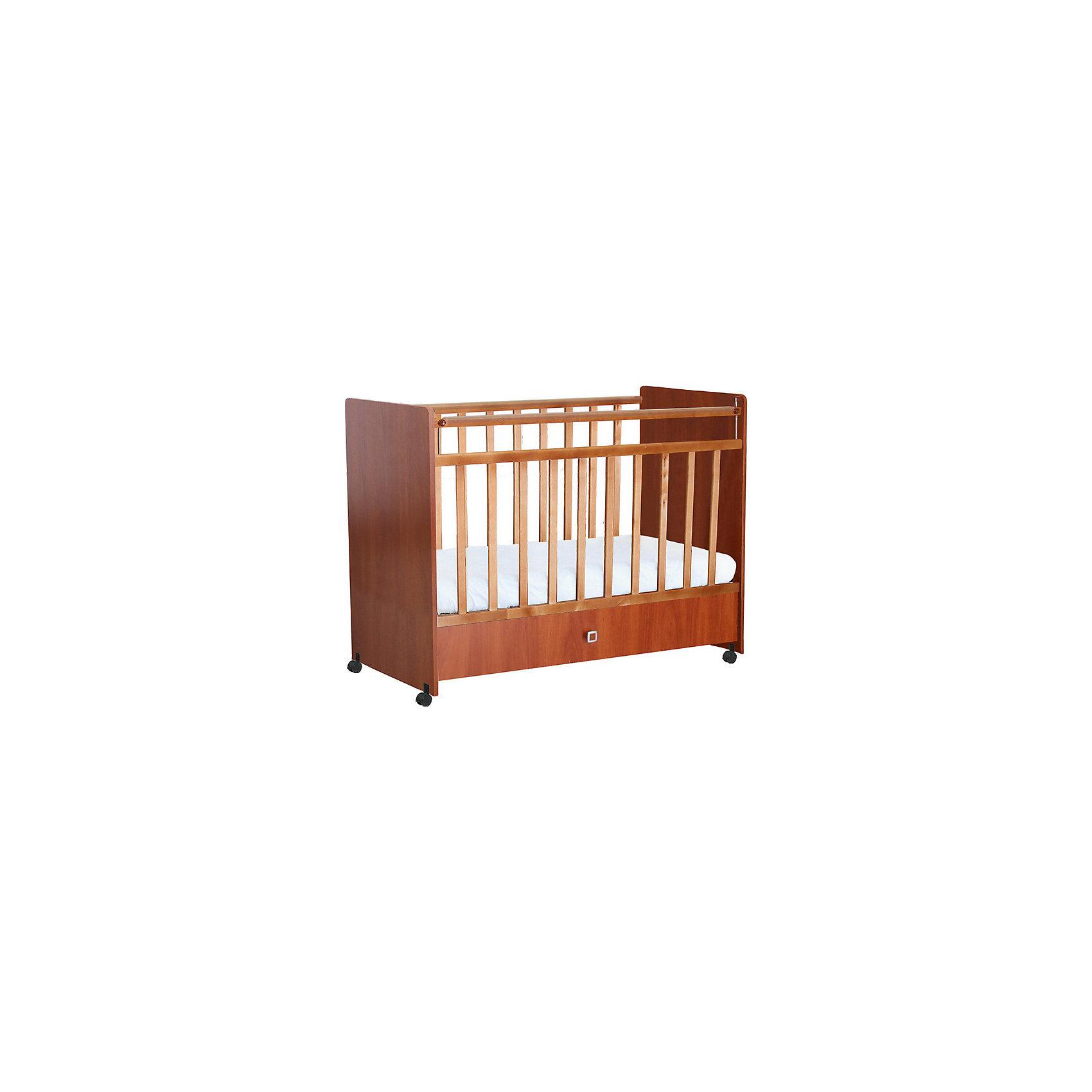 Кроватка 700, Фея, орехКроватки<br>Качественная детская мебель всегда отличается от взрослой, так как производится с учетом потребностей малышей. Данная кроватка обеспечит удобство и ребенку и маме - она имеет удобный механизм опускания передней планки и колесики, с помощью которых кроватку можно перемещать.<br>В этой модели также есть удобный ящик и накладки ПВХ. Кроватка сделана из качественного дерева, покрытого лаком. Цвет - приятный и универсальный, подойдет практически для любого интерьера. Все материалы тщательно подобраны специалистами и безопасны для детей.<br><br>Дополнительная информация:<br><br>цвет: орех;<br>материал: дерево, лак;<br>передняя планка удобно опускается;<br>выдвижной ящик;<br>ложе имеет 2 положения;<br>колёсики;<br>накладки ПВХ;<br>ортопедической основание;<br>размер:  99,8 х 123,2 х 63,8 см ;<br>ложе: 60 на 120 см;<br>вес: 34,1 кг.<br><br>Кроватку 700 торговой марки Фея можно купить в нашем магазине.<br><br>Ширина мм: 998<br>Глубина мм: 1232<br>Высота мм: 638<br>Вес г: 24700<br>Возраст от месяцев: 0<br>Возраст до месяцев: 36<br>Пол: Унисекс<br>Возраст: Детский<br>SKU: 4873652