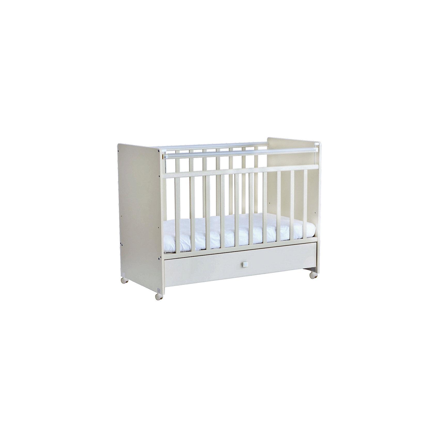 Кроватка 700, Фея, слоновая костьКроватки<br>Хорошая детская мебель всегда отличается от взрослой, так как производится с учетом потребностей малышей. Данная кроватка обеспечит удобство и ребенку и маме - она имеет удобный механизм опускания передней планки и колесики, с помощью которых кроватку можно перемещать.<br>В этой модели также есть удобный ящик и накладки ПВХ. Кроватка сделана из качественного дерева, покрытого лаком. Цвет - приятный и универсальный, подойдет практически для любого интерьера. Все материалы тщательно подобраны специалистами и безопасны для детей.<br><br>Дополнительная информация:<br><br>цвет: слоновая кость;<br>материал: дерево, лак;<br>передняя планка удобно опускается;<br>выдвижной ящик;<br>ложе имеет 2 положения;<br>колёсики;<br>накладки ПВХ;<br>ортопедической основание;<br>размер:  99,8 х 123,2 х 63,8 см ;<br>ложе: 60 на 120 см;<br>вес: 34,1 кг.<br><br>Кроватку 700 торговой марки Фея можно купить в нашем магазине.<br><br>Ширина мм: 998<br>Глубина мм: 1232<br>Высота мм: 638<br>Вес г: 24700<br>Возраст от месяцев: 0<br>Возраст до месяцев: 36<br>Пол: Унисекс<br>Возраст: Детский<br>SKU: 4873653