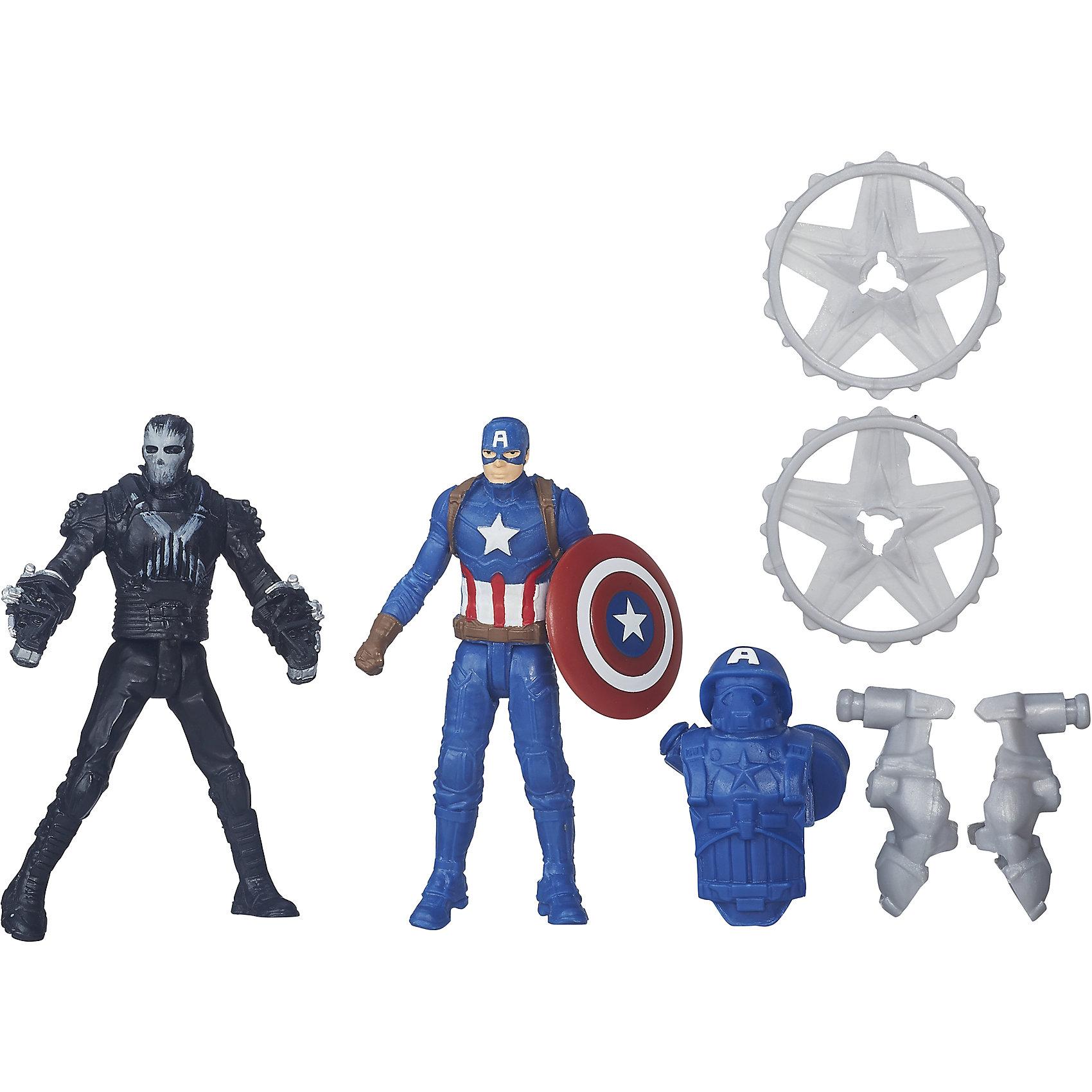 Набор из 2 фигурок Мстителей Captain America vs CrossbonesЛюбимые герои<br>Набор из 2 фигурок Мстителей Captain America vs Crossbones.<br><br>Характеристики:<br><br>- В комплекте: 2 фигурки, броня, щит<br>- Высота фигурки: 6 см.<br>- Материал: высококачественный пластик<br>- Размер упаковки: 16x14x4 см.<br><br>Игровой набор из фигурок от Hasbro вызовет настоящий восторг у юного поклонника знаменитой вселенной Marvel. Фигурки изготовлены из высококачественного прочного пластика и выполнены в виде Капитана Америки и его противника, Кроссбоунса. В комплекте с фигурками идут дополнительные аксессуары: щит и бронекостюм Капитана Америки. Игрушечные персонажи максимально соответствует своим прототипам с учетом особенностей образа каждого героя. Фигурки имеют по пять точек артикуляции, что позволяет придавать им необходимое положение во время игры. <br>Имея в игровом арсенале этих персонажей, ребенок сможет разыграть множество увлекательнейших сюжетов. В них в очередной раз развернется отчаянная борьба за мир, и смелый и отважный Капитана Америка вновь спасет его благодаря своей силе, ловкости и находчивости! Совместимо с Башней Мстителей.<br><br>Набор из 2 фигурок Мстителей Captain America vs Crossbones можно купить в нашем интернет-магазине.<br><br>Ширина мм: 44<br>Глубина мм: 140<br>Высота мм: 159<br>Вес г: 50<br>Возраст от месяцев: 48<br>Возраст до месяцев: 144<br>Пол: Мужской<br>Возраст: Детский<br>SKU: 4874295
