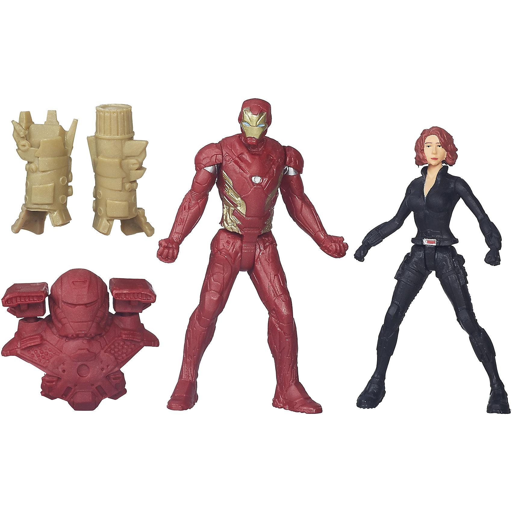 Набор из 2 фигурок Мстителей Iron Man vs Black WidowКоллекционные и игровые фигурки<br>Набор из 2 фигурок Мстителей Iron Man vs Black Widow.<br><br>Характеристики:<br><br>- В комплекте: 2 фигурки, броня<br>- Высота фигурки: 6 см.<br>- Материал: высококачественный пластик<br>- Размер упаковки: 16x14x4 см.<br><br>Игровой набор из фигурок от Hasbro вызовет настоящий восторг у юного поклонника знаменитой вселенной Marvel. Фигурки изготовлены из высококачественного прочного пластика и выполнены в виде Железного человека и Черной вдовы. В комплекте с фигурками идут дополнительные аксессуары: элементы бронекостюма Железного человека. Игрушечные персонажи максимально соответствует своим прототипам с учетом особенностей образа каждого героя. Фигурки имеют по пять точек артикуляции, что позволяет придавать им необходимое положение во время игры. Имея в игровом арсенале этих персонажей, ребенок сможет разыграть множество увлекательнейших сюжетов. В них в очередной раз развернется отчаянная борьба за мир, и смелые герои вновь спасут его благодаря своей силе, ловкости и находчивости! Совместимо с Башней Мстителей.<br><br>Набор из 2 фигурок Мстителей Iron Man vs Black Widow можно купить в нашем интернет-магазине.<br><br>Ширина мм: 44<br>Глубина мм: 140<br>Высота мм: 159<br>Вес г: 50<br>Возраст от месяцев: 48<br>Возраст до месяцев: 144<br>Пол: Мужской<br>Возраст: Детский<br>SKU: 4874296