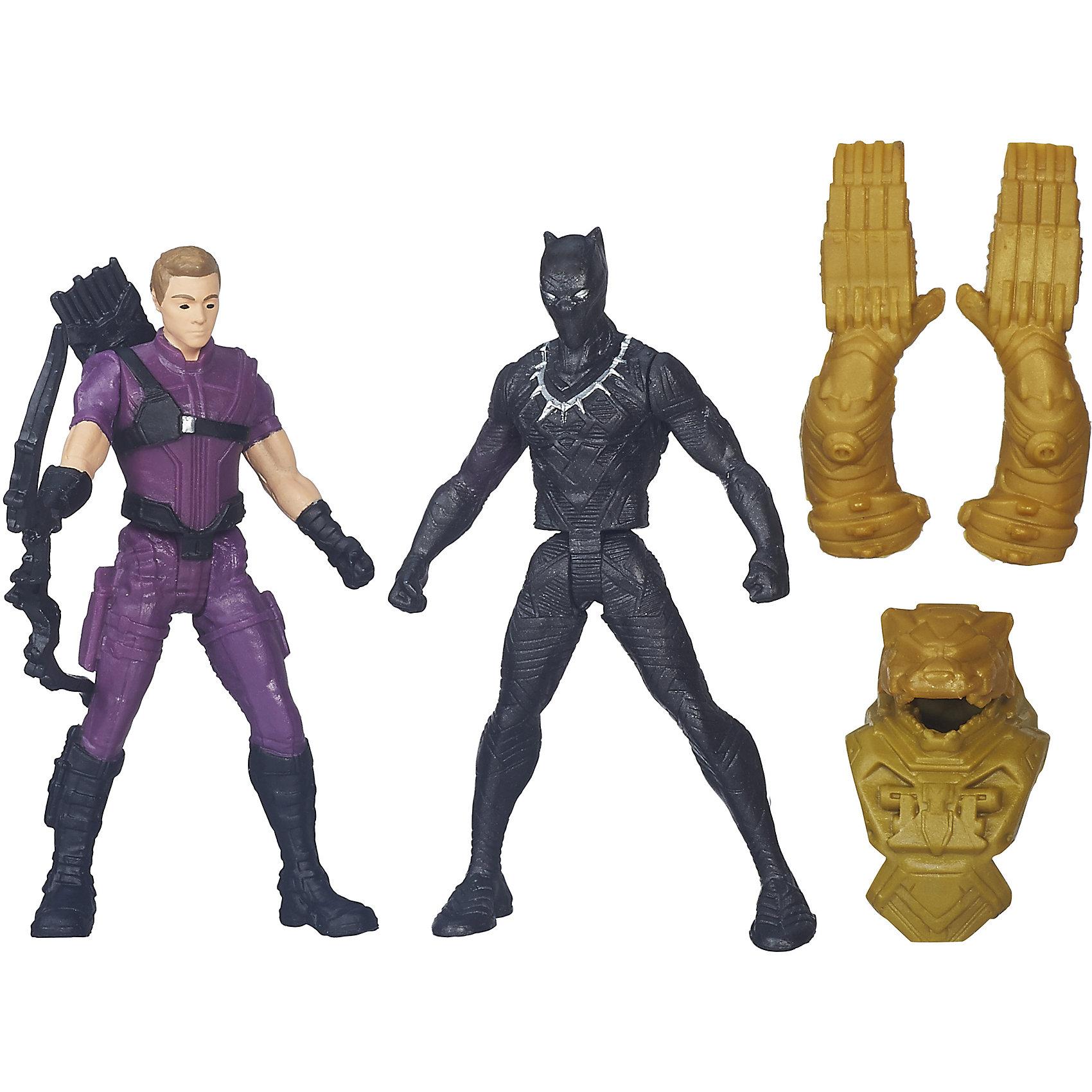 Набор из 2 фигурок Мстителей Hawkeye vs Black PantherИгрушки<br>Набор из 2 фигурок Мстителей Hawkeye vs Black Panther.<br><br>Характеристики:<br><br>- В комплекте: 2 фигурки, броня, лук<br>- Высота фигурки: 6 см.<br>- Материал: высококачественный пластик<br>- Размер упаковки: 16 x 14 x 4 см.<br><br>Игровой набор из фигурок от Hasbro вызовет настоящий восторг у юного поклонника знаменитой вселенной Marvel. Фигурки изготовлены из высококачественного прочного пластика и выполнены в виде Соколиного глаза и Черной пантеры. В комплекте с фигурками идут дополнительные аксессуары: элементы бронекостюма Черной пантеры и лук Соколиного глаза. Игрушечные персонажи максимально соответствует своим прототипам с учетом особенностей образа каждого героя. Фигурки имеют по пять точек артикуляции, что позволяет придавать им необходимое положение во время игры. Имея в игровом арсенале этих персонажей, ребенок сможет разыграть множество увлекательнейших сюжетов. В них в очередной раз развернется отчаянная борьба за мир, и смелые герои вновь спасут его благодаря своей силе, ловкости и находчивости! Совместимо с Башней Мстителей.<br><br>Набор из 2 фигурок Мстителей Hawkeye vs Black Panther можно купить в нашем интернет-магазине.<br><br>Ширина мм: 44<br>Глубина мм: 140<br>Высота мм: 159<br>Вес г: 50<br>Возраст от месяцев: 48<br>Возраст до месяцев: 144<br>Пол: Мужской<br>Возраст: Детский<br>SKU: 4874298
