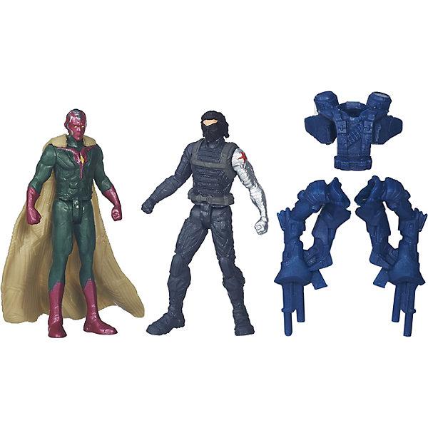 Набор из 2 фигурок Мстителей Vision vs Winter SolderФигурки из мультфильмов<br>Набор из 2 фигурок Мстителей Vision vs Winter Solder.<br><br>Характеристики:<br><br>- В комплекте: 2 фигурки, броня<br>- Высота фигурки: 6 см.<br>- Материал: высококачественный пластик<br>- Размер упаковки: 16x14x4 см.<br><br>Игровой набор из фигурок от Hasbro вызовет настоящий восторг у юного поклонника знаменитой вселенной Marvel. Фигурки изготовлены из высококачественного прочного пластика и выполнены в виде Вижена и его противника, Зимнего солдата. В комплекте с фигурками идут дополнительные аксессуары: элементы бронекостюма Зимнего солдата. Игрушечные персонажи максимально соответствует своим прототипам с учетом особенностей образа каждого героя. Фигурки имеют по пять точек артикуляции, что позволяет придавать им необходимое положение во время игры. Имея в игровом арсенале этих персонажей, ребенок сможет разыграть множество увлекательнейших сюжетов. В них в очередной раз развернется отчаянная борьба за мир, и смелые герои вновь спасут его благодаря своей силе, ловкости и находчивости! Совместимо с Башней Мстителей.<br><br>Набор из 2 фигурок Мстителей Vision vs Winter Solder можно купить в нашем интернет-магазине.<br>Ширина мм: 44; Глубина мм: 140; Высота мм: 159; Вес г: 50; Возраст от месяцев: 48; Возраст до месяцев: 144; Пол: Мужской; Возраст: Детский; SKU: 4874299;