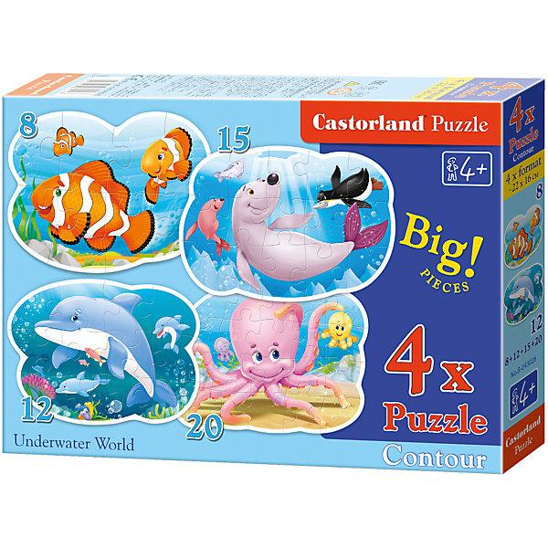 Контурные пазлы Подводный мир, 8*12*15*20 деталей, CastorlandПазлы для малышей<br>Характеристики:<br><br>• размер упаковки: 17,4х24,4х3,6см.;<br>• количество элементов: 55шт.;<br>• размер готовой картинки: 23х16см.;<br>• материал: картон;<br>• вес: 150г.;<br>• для детей в возрасте: от 5 лет;<br>• страна производитель: Польша;<br><br> Красочный пазл «Подводный мир» бренда Castorland (Касторланд) станет замечательным экземпляром для домашней коллекции головоломок. Это лицензионный пазл сделанный из экологически чистых материалов, которые безопасны для детей.<br><br>Мозаика имеет четыре картинки с изображением обитателей подводного мира, которые состоят из разного количества пазлов (8,12,15,20), что делает сборку намного интереснее. Детали крупные и яркие. С пазлом справятся даже дети, которые не имеют опыта. В составлении картинок могут участвовать все члены семьи, что очень объединяет.<br><br>Собранные пазлы превращаются в настоящее произведение искусства. Большие яркие картинки могут украсить интерьер любой комнаты. Их цвета мягкие и спокойные, они не напрягают глаза, и дарят ощущение спокойствия.<br><br>Составление пазлов помогает детям развивать образное и логическое мышление, внимательность, учит правильно воспринимать связь между частью и целым, усидчивость, мелкую моторику, просто с пользой провести время.<br><br>Пазл «Подводный мир», можно купить в нашем интернет-магазине.<br><br>Ширина мм: 245<br>Глубина мм: 37<br>Высота мм: 175<br>Вес г: 200<br>Возраст от месяцев: 60<br>Возраст до месяцев: 96<br>Пол: Унисекс<br>Возраст: Детский<br>SKU: 4879211