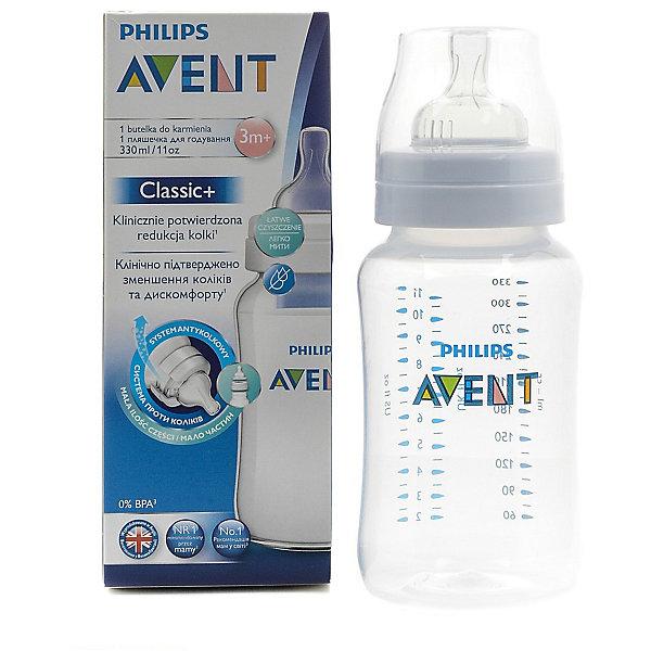 Бутылочка Classic+, 330 мл, 3мес+ , Philips AventХиты продаж<br>Новая, улучшенная бутылочка Classic+ от Philips Avent - это то, что необходимо Вам!  <br><br>Особенности:<br>- Удобное кормление благодаря уникальной форме бутылочки. <br>- Антиколиковая система. Во время кормления, открывается специальный клапан на соске, пропуская воздух в бутылочку, а не в живот ребеночка.<br>- Благодаря широкому горлышку, после кормления, можно без труда очистить бутылку.<br>- Для большего удобства и более длительного использования бутылочка совместима с большинством изделий линейки Philips. <br>- Не содержащего бисфенола-А.<br><br>Дополнительная информация: <br><br>- Возраст: с 3 месяцев.<br>- Объем: 330 мл.<br>- Материал: полипропилен, силикон. <br>- Размер упаковки: 7х7х19 см.<br>- Вес в упаковке: 122 г.<br><br>Купить бутылочку Classic+ от Philips Avent, можно в нашем магазине.<br><br>Ширина мм: 70<br>Глубина мм: 70<br>Высота мм: 190<br>Вес г: 122<br>Возраст от месяцев: 3<br>Возраст до месяцев: 2147483647<br>Пол: Унисекс<br>Возраст: Детский<br>SKU: 4880862