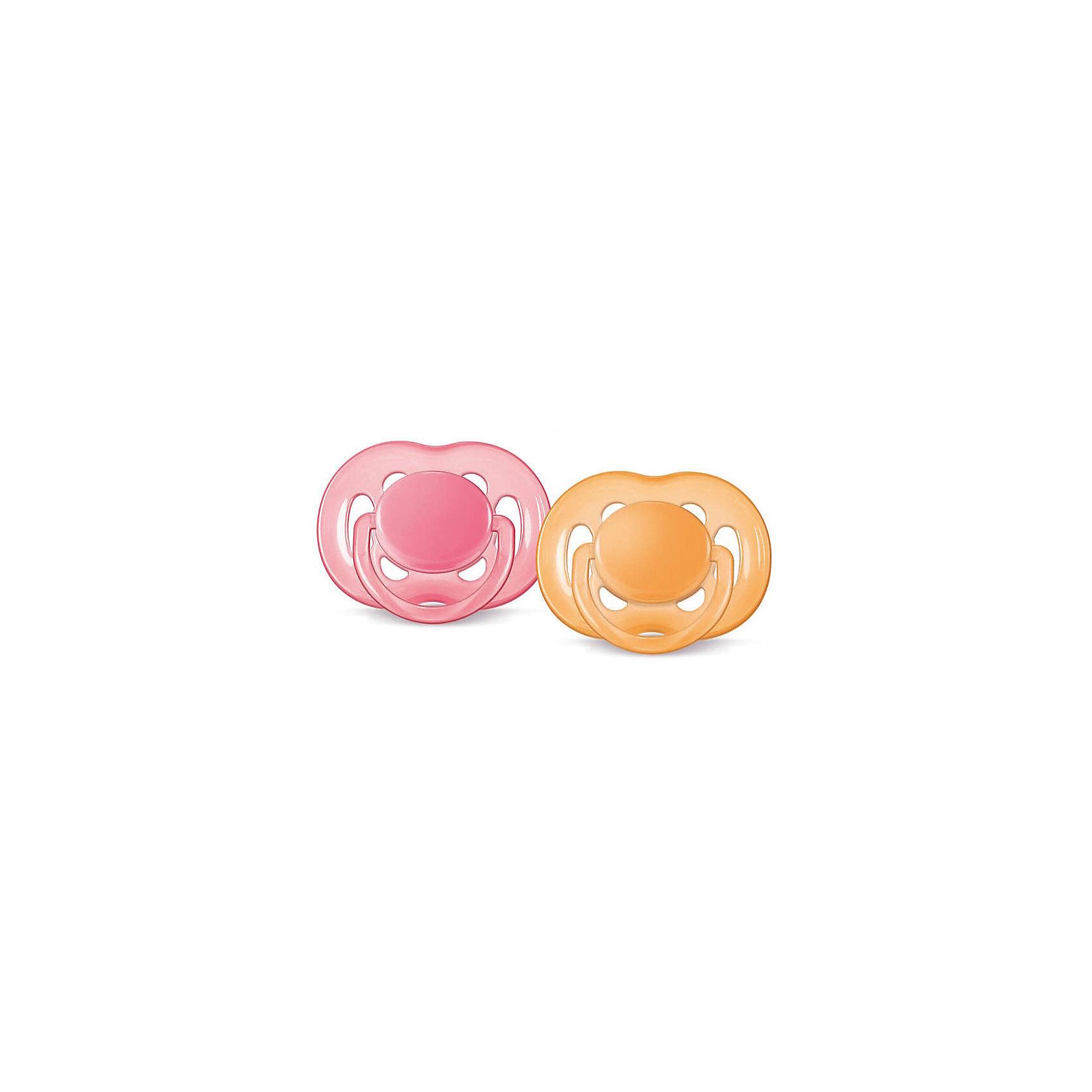 Соска-пустышка 6-18 мес, 2 шт., Philips Avent, розовый/желтыйПустышки и аксессуары<br>Невероятно удобная, симметрично мягкая соска-пустышка специально для Вашего ребенка!  Соска выполнена учитывая строение и естественное развитие неба, зубов и десен малыша и гарантирует комфорт. На щитке пустышки имеются специальные вентиляционные отверстия, которые предотвращают появление раздражения кожи. Колечко соски светится в темноте.<br><br>Дополнительная информация:<br><br>- Возраст: с 6 до 18 месяцев.<br>- Кол-во в упаковке: 2 шт.<br>- Цвет: розовый/желтый.<br>- Состав: высококачественный силикон.<br>- Размер упаковки: 5х10х10 см.<br>- Вес в упаковке: 63 г. <br><br>Купить соску-пустышку от Philips Avent, можно в нашем магазине.<br><br>Ширина мм: 50<br>Глубина мм: 100<br>Высота мм: 100<br>Вес г: 63<br>Возраст от месяцев: 6<br>Возраст до месяцев: 18<br>Пол: Женский<br>Возраст: Детский<br>SKU: 4880882