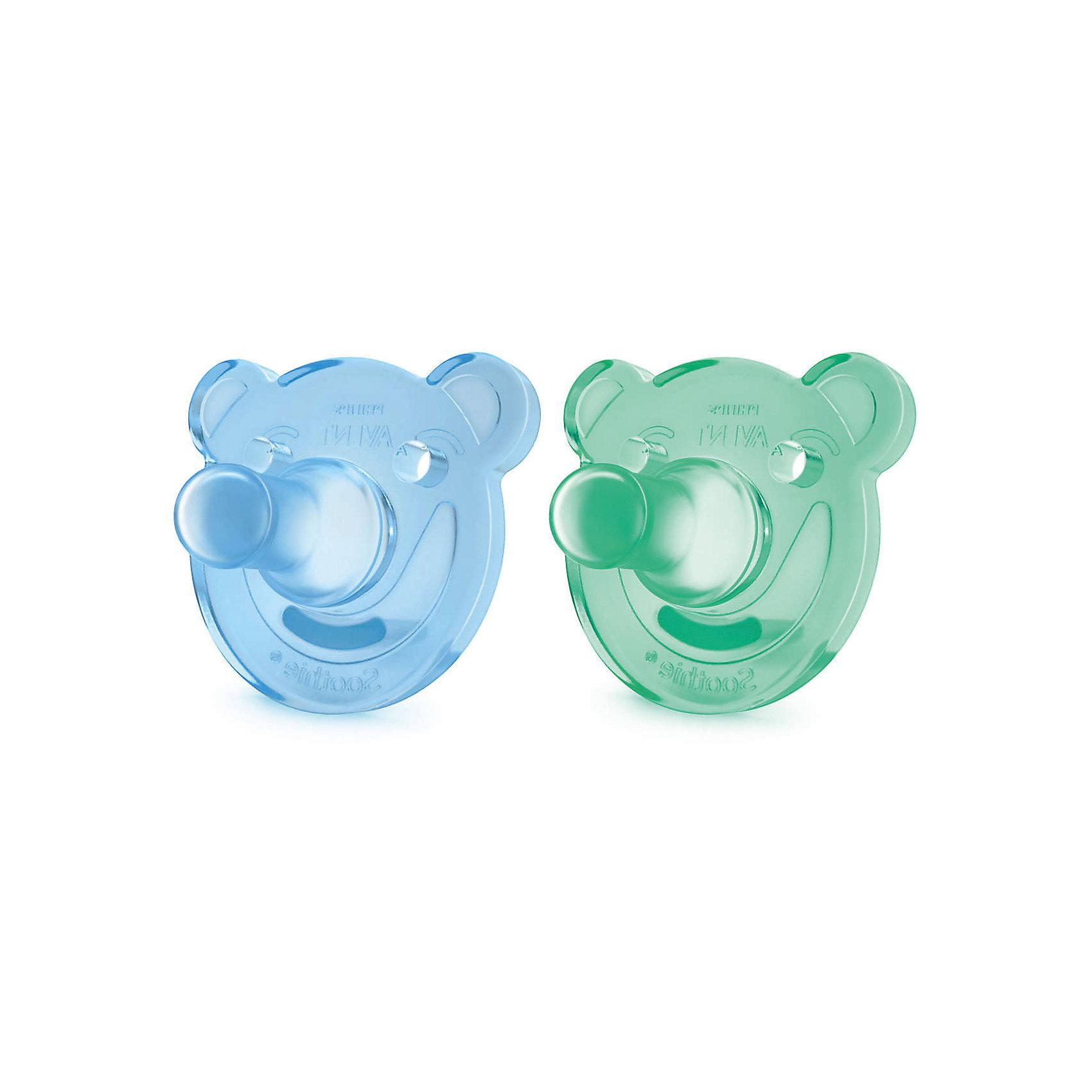Соска-пустышка с щитком 0-3 мес, 2шт., Philips Avent, зеленый/синий