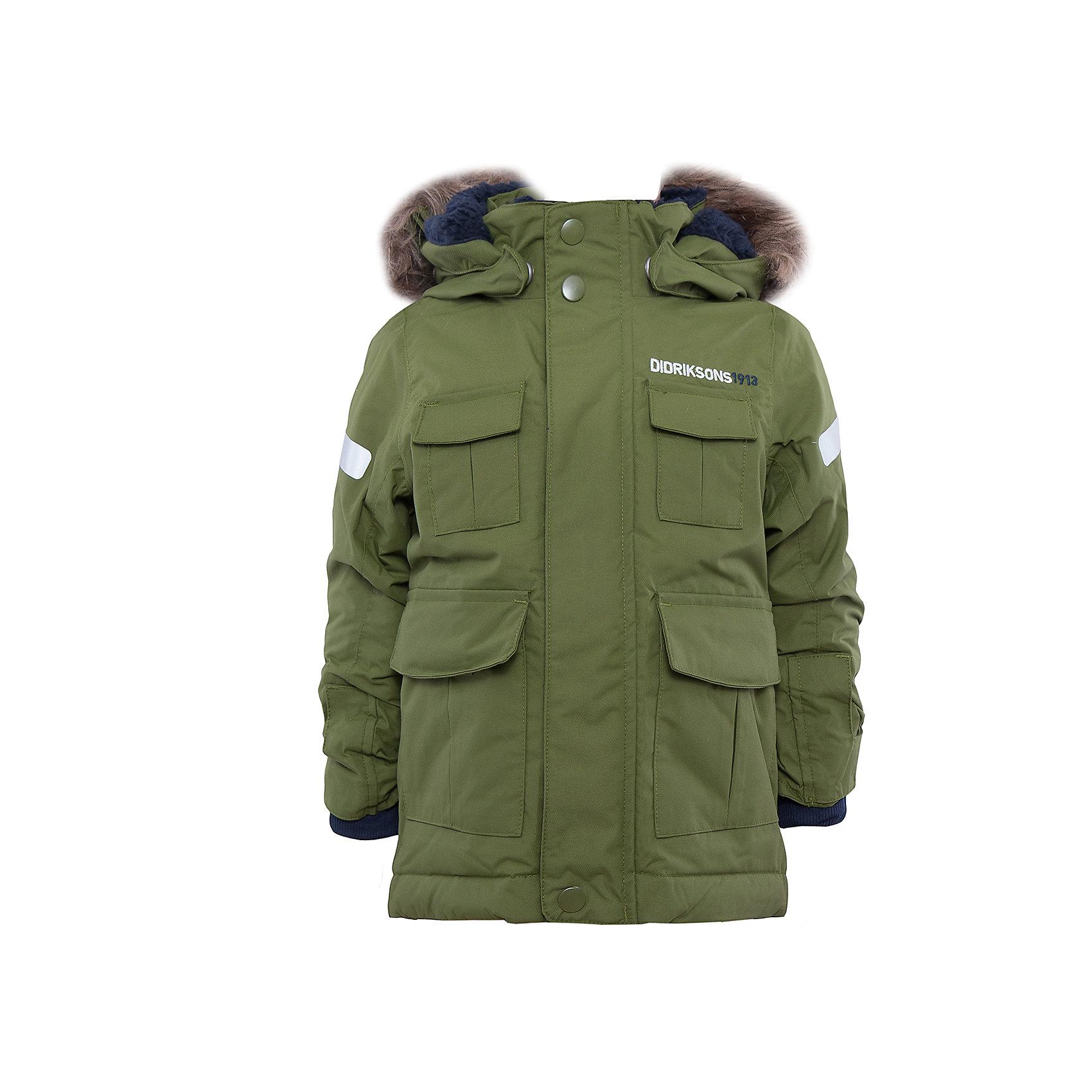 Куртка DIDRIKSONSКуртка от известного бренда DIDRIKSONS.<br>Детская парка из непромокаемой и непродуваемой мембранной ткани. Дополнительная пропитка и прокленные швы обеспечивают максимальную защиту от внешней влаги. Утеплитель - 160 г/м. На спинке подкладка из искусственного меха. Регулируемый съемный капюшон и ширина рукавов. Съемный мех на капюшоне. Внутренние трикотажные манжеты. Фронтальная молния под планкой. Светоотражатели. Модель растет вместе с ребенком. Специальный крой позволяет при необходимости увеличить длину рукавов на один размер. Эргономичный крой. Отличная модель для прогулок и активного отдыха зимой.<br>Состав:<br>Верх - 100% полиамид, подкладка - 100% полиэстер<br><br>Ширина мм: 359<br>Глубина мм: 256<br>Высота мм: 111<br>Вес г: 545<br>Цвет: хаки<br>Возраст от месяцев: 12<br>Возраст до месяцев: 24<br>Пол: Мужской<br>Возраст: Детский<br>Размер: 128/134,122/128,110/116,98/104,92/98,80/86,140<br>SKU: 4881236