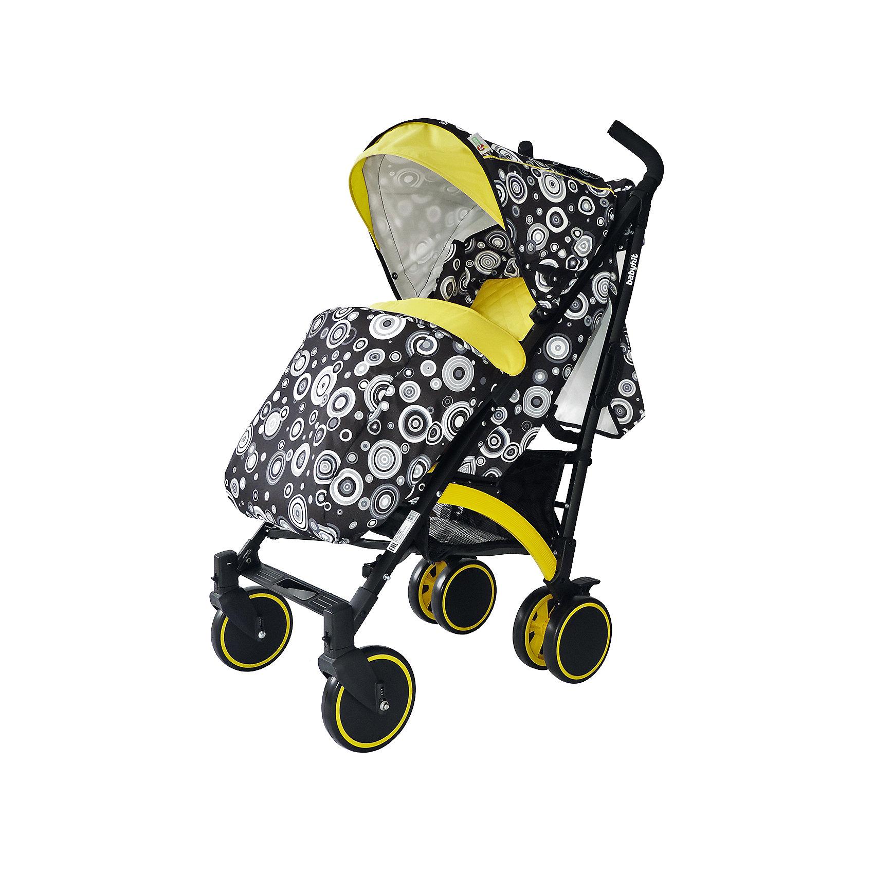 Коляска-трость BabyHit Rainbow CIRCLES, чёрный/желтыйКоляски-трости<br>Rainbow, Baby Hit( бэби хит)  – коляска-трость для детей от 6 месяцев до 3 лет. Для дополнительной безопасности малыша коляска оснащена съемным бампером, 5-точечными ремнями и паховым ремнем. 3 положения спинки и регулируемая подножка помогут вашему ребенку удобно расположиться и отдохнуть. Передние плавающие колеса можно зафиксировать; все колеса амортизированы. Капюшон-батискаф опускается до бампера коляска в случае необходимости. Коляска легко складывается и автоматически блокируется. Для удобства переноса предусмотрена специальная ручка.  Есть корзина для покупок. С этой коляской вам будет очень комфортно гулять с крохой.<br>Особенности и преимущества:<br>-5-точечные ремни и паховый ремень для безопасности ребенка<br>-удобна при переносе в сложенном виде<br>-плавающие колеса можно зафиксировать<br>Размеры: 85x43x108 см<br>Вес: 7,4 кг<br>Дополнительные характеристики:<br>Ширина сиденья: 35 см<br>Длина подножки: 13 см<br>Глубина сиденья: 25 см<br>Размер спального места: 85x35 см<br>Высота спинки: 47 см<br>В комплекте: чехол для ног, дождевик, сумка для мамы, москитная сетка<br>Вы можете приобрести коляску Rainbow в нашем интернет-магазине.<br>ВНИМАНИЕ! Данный артикул имеется в наличии в разных цветовых исполнениях (черный/желтый, розовый, голубой). К сожалению, заранее выбрать определенный цвет не возможно.<br><br>Ширина мм: 260<br>Глубина мм: 250<br>Высота мм: 900<br>Вес г: 8700<br>Возраст от месяцев: 6<br>Возраст до месяцев: 36<br>Пол: Унисекс<br>Возраст: Детский<br>SKU: 4881273