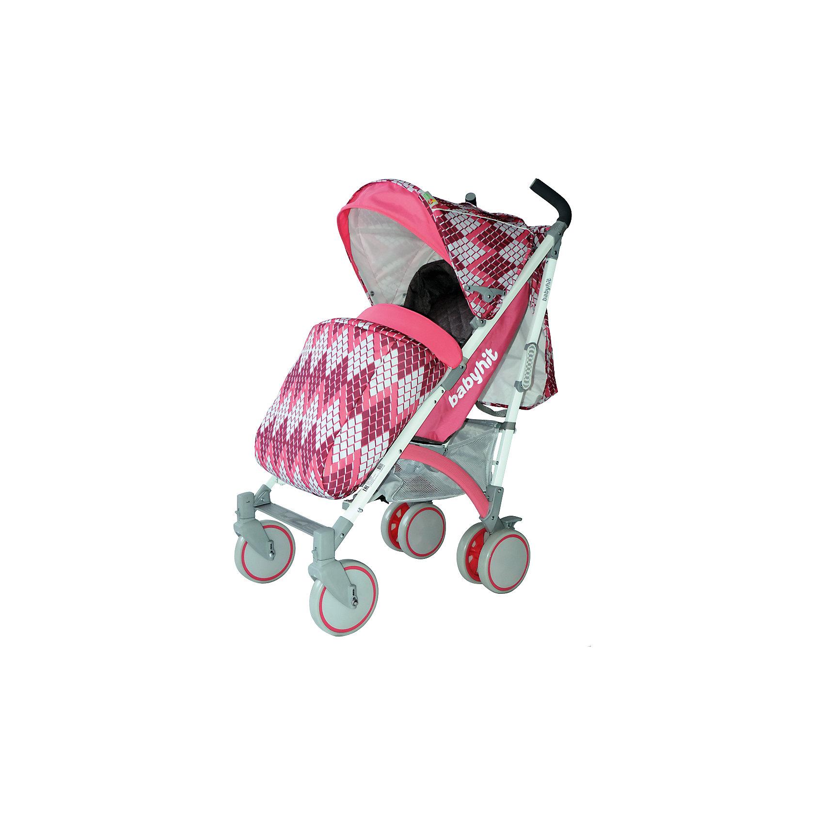 Коляска-трость BabyHit Rainbow RHOMBUS, розовыйКоляски-трости<br>Rainbow, Baby Hit( бэби хит)  – коляска-трость для детей от 6 месяцев до 3 лет. Для дополнительной безопасности малыша коляска оснащена съемным бампером, 5-точечными ремнями и паховым ремнем. 3 положения спинки и регулируемая подножка помогут вашему ребенку удобно расположиться и отдохнуть. Передние плавающие колеса можно зафиксировать; все колеса амортизированы. Капюшон-батискаф опускается до бампера коляска в случае необходимости. Коляска легко складывается и автоматически блокируется. Для удобства переноса предусмотрена специальная ручка.  Есть корзина для покупок. С этой коляской вам будет очень комфортно гулять с крохой.<br>Особенности и преимущества:<br>-5-точечные ремни и паховый ремень для безопасности ребенка<br>-удобна при переносе в сложенном виде<br>-плавающие колеса можно зафиксировать<br>Размеры: 85x43x108 см<br>Вес: 7,4 кг<br>Дополнительные характеристики:<br>Ширина сиденья: 35 см<br>Длина подножки: 13 см<br>Глубина сиденья: 25 см<br>Размер спального места: 85x35 см<br>Высота спинки: 47 см<br>В комплекте: чехол для ног, дождевик, сумка для мамы, москитная сетка<br>Вы можете приобрести коляску Rainbow в нашем интернет-магазине.<br>ВНИМАНИЕ! Данный артикул имеется в наличии в разных цветовых исполнениях (черный/желтый, розовый, голубой). К сожалению, заранее выбрать определенный цвет не возможно.<br><br>Ширина мм: 260<br>Глубина мм: 250<br>Высота мм: 900<br>Вес г: 8700<br>Возраст от месяцев: 6<br>Возраст до месяцев: 36<br>Пол: Унисекс<br>Возраст: Детский<br>SKU: 4881274