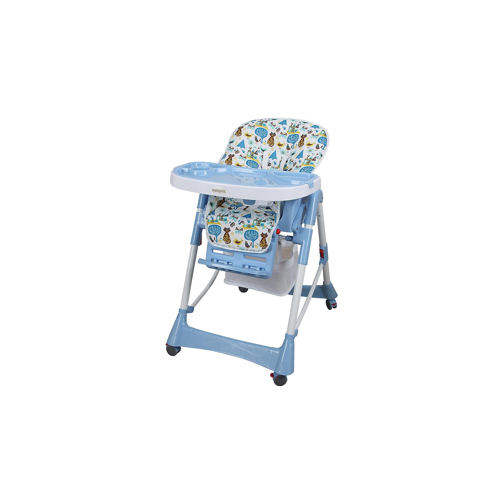 Стульчик для кормления Appetite, CATS, Baby Hit, голубойAppetite, BabyHit (бэби хит) – стульчик для кормления детей от 6 месяцев до 3 лет.   Наклон спинки стульчика и высота сидения регулируются. Для удобного перемещения по квартире предусмотрены колеса с фиксаторами. Стульчик легко складывается и занимает мало места, что особенно удобно  для маленькой кухни.  Для безопасности малыша есть пятиточечные ремни безопасности и паховая перегородка. На подносе имеются углубления для стаканов и бутылочек. Кроме того, внизу стульчика есть специальная корзина для игрушек, которая обязательно пригодится маленьким непоседам.<br>Особенности и преимущества:<br>-5-точечные ремни безопасности<br>-паховая перегородка<br>-5 положений по высоте, 3 положения столика, регулируемый наклон спинки<br>-корзина для игрушек<br>-колеса с фиксаторами<br>Размеры: 70x29x49<br>Вес: 9,4 кг<br>Приобретайте стульчик Appetite в нашем интернет-магазине.<br>ВНИМАНИЕ! Данный артикул имеется в наличии в разных цветовых исполнениях (бежевый, голубой, зеленый, красный).  К сожалению, заранее выбрать определенный цвет не возможно.<br><br>Ширина мм: 490<br>Глубина мм: 290<br>Высота мм: 700<br>Вес г: 10500<br>Возраст от месяцев: 6<br>Возраст до месяцев: 36<br>Пол: Унисекс<br>Возраст: Детский<br>SKU: 4881279