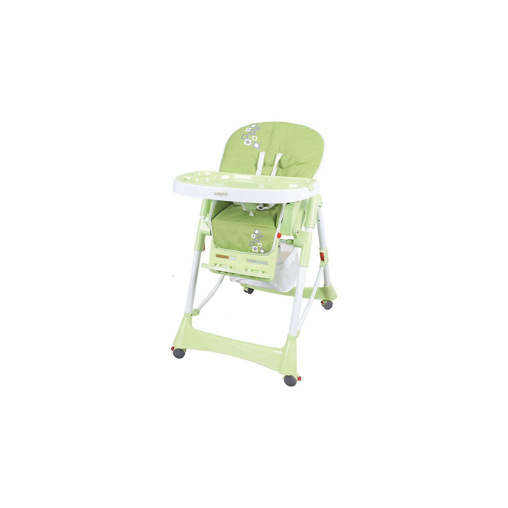 Стульчик для кормления Appetite, Baby Hit, зеленыйот +6 месяцев<br>Appetite, BabyHit (бэби хит) – стульчик для кормления детей от 6 месяцев до 3 лет.   Наклон спинки стульчика и высота сидения регулируются. Для удобного перемещения по квартире предусмотрены колеса с фиксаторами. Стульчик легко складывается и занимает мало места, что особенно удобно  для маленькой кухни.  Для безопасности малыша есть пятиточечные ремни безопасности и паховая перегородка. На подносе имеются углубления для стаканов и бутылочек. Кроме того, внизу стульчика есть специальная корзина для игрушек, которая обязательно пригодится маленьким непоседам.<br>Особенности и преимущества:<br>-5-точечные ремни безопасности<br>-паховая перегородка<br>-5 положений по высоте, 3 положения столика, регулируемый наклон спинки<br>-корзина для игрушек<br>-колеса с фиксаторами<br>Размеры: 70x29x49<br>Вес: 9,4 кг<br>Приобретайте стульчик Appetite в нашем интернет-магазине.<br>ВНИМАНИЕ! Данный артикул имеется в наличии в разных цветовых исполнениях (бежевый, голубой, зеленый, красный).  К сожалению, заранее выбрать определенный цвет не возможно.<br><br>Ширина мм: 490<br>Глубина мм: 290<br>Высота мм: 700<br>Вес г: 10500<br>Возраст от месяцев: 6<br>Возраст до месяцев: 36<br>Пол: Унисекс<br>Возраст: Детский<br>SKU: 4881280