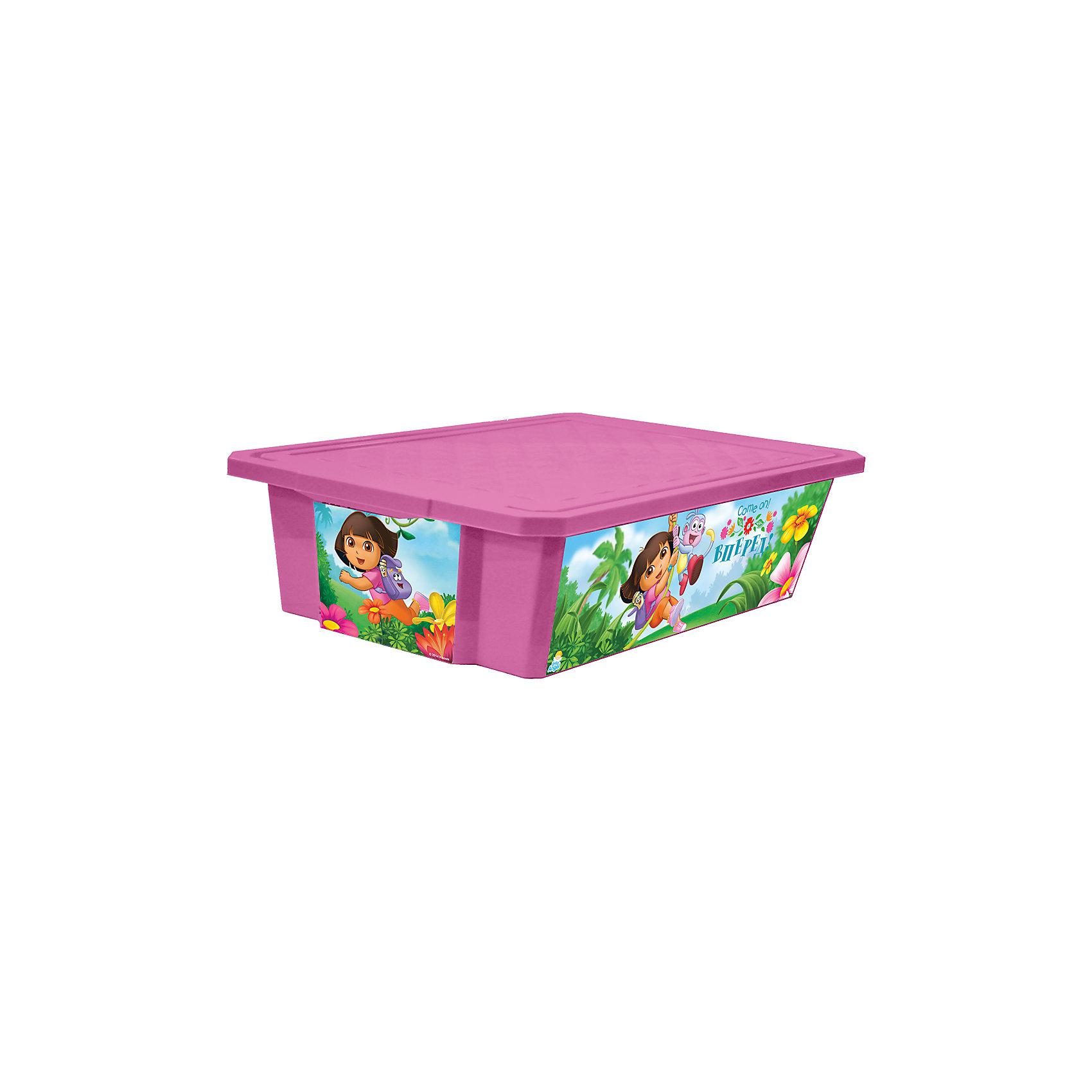 Ящик для хранения игрушек X-BOX Даша путешественница 30л на колесах, Little Angel, розовыйЯщик для хранения игрушек X-BOX Даша путешественница 30 л на колесах, Little Angel, розовый изготовлен отечественным производителем . Выполненный из высококачественного пластика, устойчивого к внешним повреждениям и изменению цвета, ящик станет не только необходимым предметом для хранения детских игрушек и принадлежностей, но и украсит детскую комнату своим ярким дизайном. По бокам ящика с помощью инновационной технологии нанесены картинки, изображающие сюжеты путешествия Даши с ее другом-обезьянкой по имени Башмачок. Ящик оснащен крышкой, что защитит хранящиеся в нем предметы от пыли. Ящик оснащен колесиками, что позволяет его легко передвигать по помещению даже ребенку.<br>Ящик для хранения игрушек X-BOX Даша путешественница 30 л на колесах, Little Angel, розовый достаточно прост в уходе, его можно протирать влажной губкой или мыть в теплой воде. <br><br>Дополнительная информация:<br><br>- Предназначение: для дома<br>- Цвет: розовый<br>- Пол: для девочки<br>- Материал: пластик<br>- Размер (Д*Ш*В): 61*40,5*19,3 см<br>- Объем: 30 л<br>- Вес: 1 кг 314 г<br>- Особенности ухода: разрешается мыть теплой водой<br><br>Подробнее:<br><br>• Для детей в возрасте: от 2 лет и до 7 лет<br>• Страна производитель: Россия<br>• Торговый бренд: Little Angel<br><br>Ящик для хранения игрушек X-BOX Даша путешественница 30 л на колесах, Little Angel, розовый можно купить в нашем интернет-магазине.<br><br>Ширина мм: 610<br>Глубина мм: 405<br>Высота мм: 193<br>Вес г: 1314<br>Возраст от месяцев: 24<br>Возраст до месяцев: 84<br>Пол: Женский<br>Возраст: Детский<br>SKU: 4881757