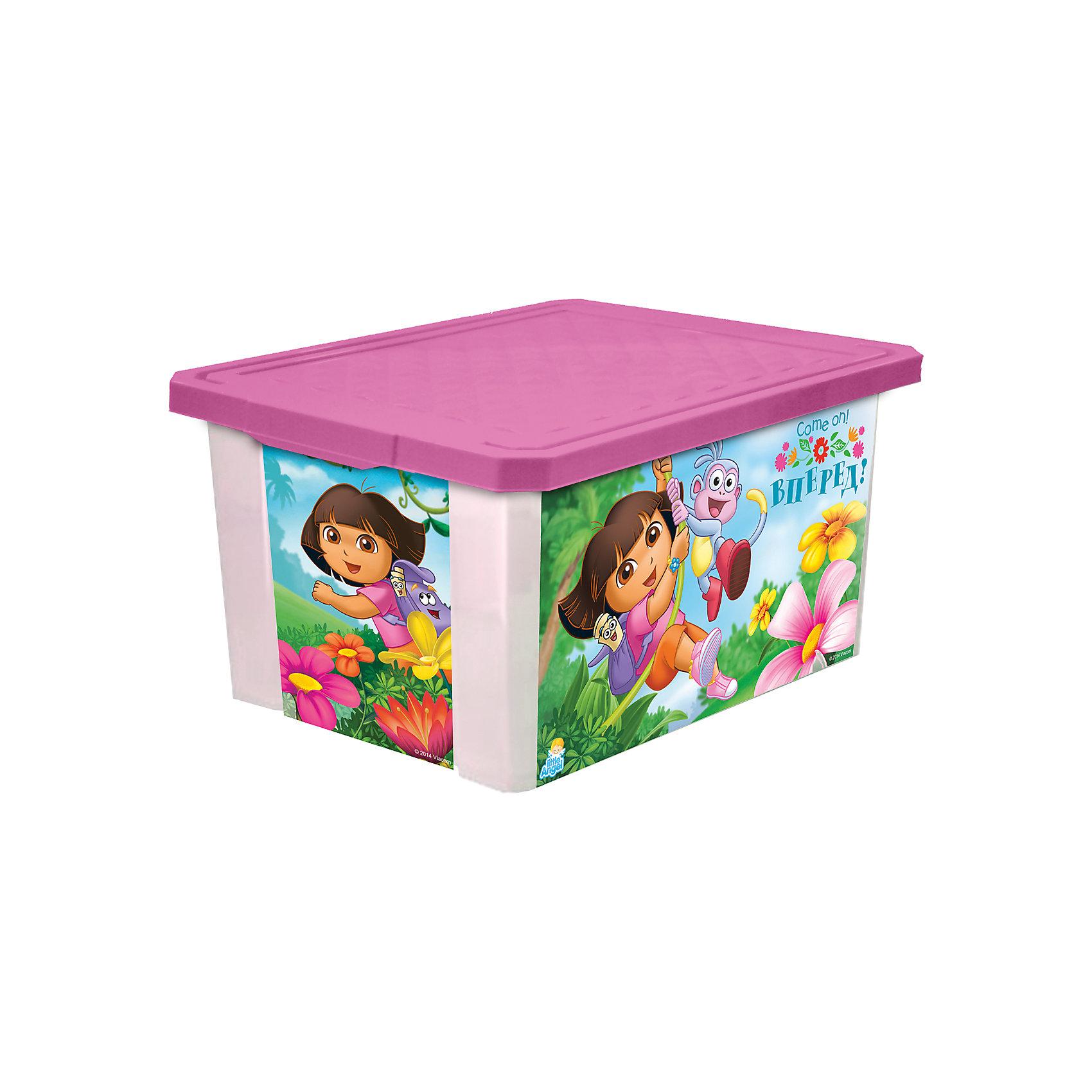 Little Angel Ящик для хранения игрушек X-BOX Даша путешественница 12л, Little Angel, розовый комоды детские little angel комод для комнаты даша путешественница 610мм комбинированный