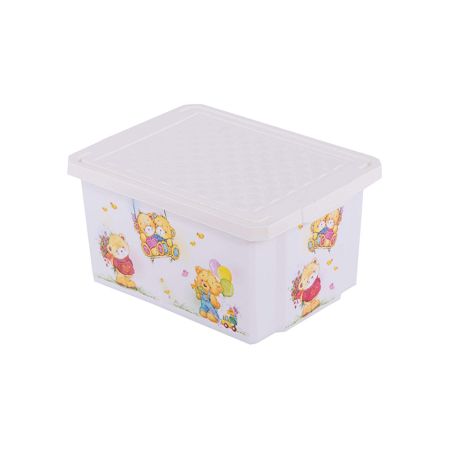 Little Angel Ящик для хранения игрушек X-BOX Bears 17л, Little Angel, слоновая кость little angel мусорная корзина круглая 7 л city cars little angel голубой