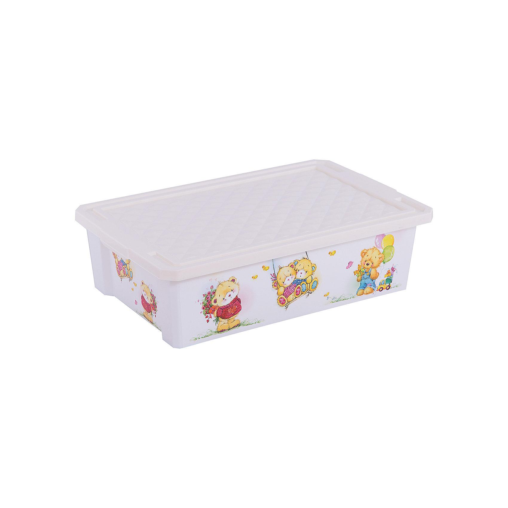 """Little Angel Ящик для хранения игрушек """"X-BOX"""" Bears 30л на колесах, Little Angel, слоновая кость"""