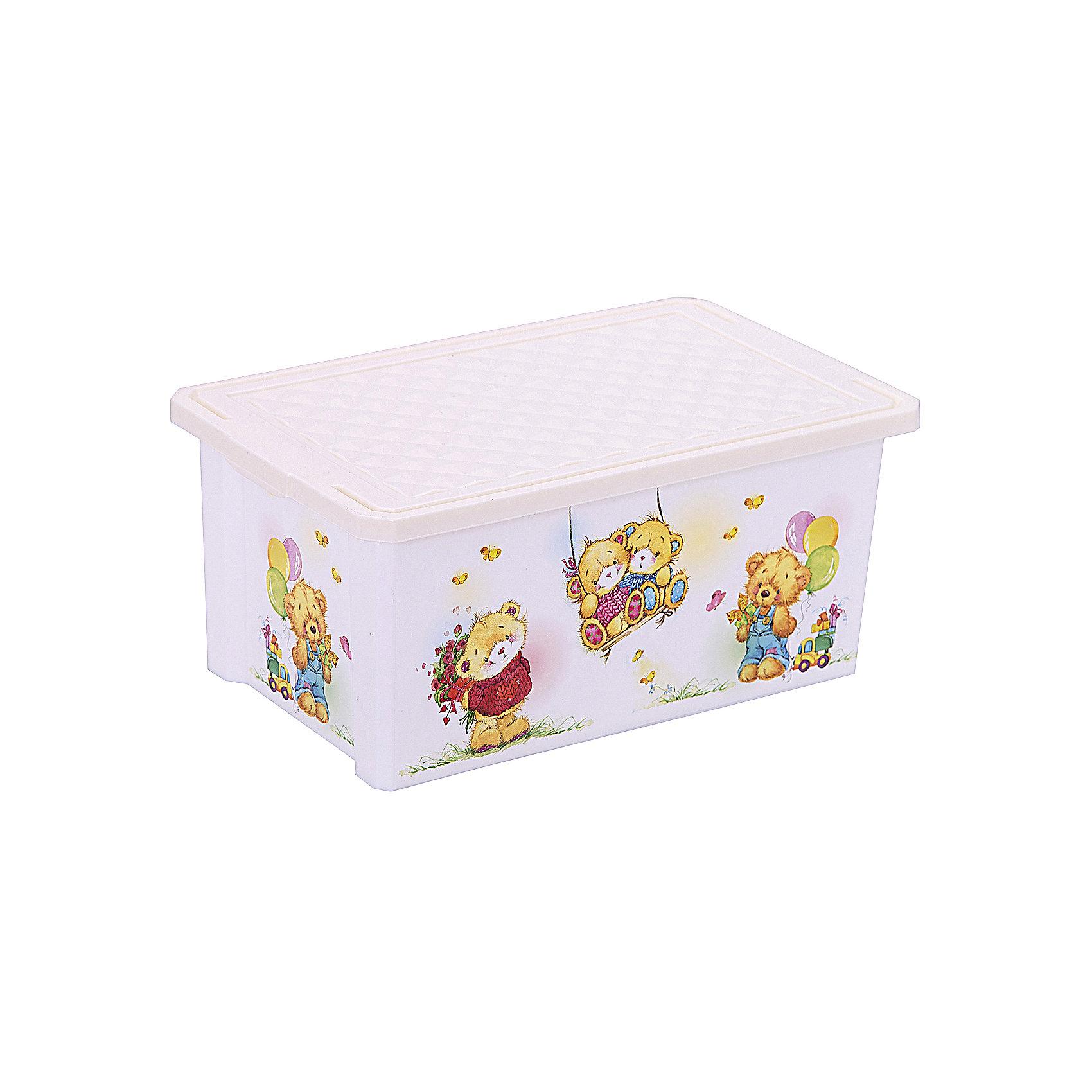 Ящик для хранения игрушек X-BOX Bears 12л, Little Angel, слоновая костьЯщик для хранения игрушек X-BOX Bears 12 л, Little Angel, слоновая кость изготовлен отечественным производителем . Выполненный из высококачественного пластика, устойчивого к внешним повреждениям и изменению цвета, ящик станет не только необходимым предметом для хранения детских игрушек и принадлежностей, но и украсит детскую комнату своим ярким дизайном. По бокам ящика с помощью инновационной технологии нанесены картинки, изображающие милых медвежат.<br>Ящик оснащен крышкой, что защитит хранящиеся в нем предметы от пыли. Компактный размер ящика идеально подходит для хранения принадлежностей для детского творчества: рисования, лепки, аппликации или рукоделия. <br>Ящик для хранения игрушек X-BOX Bears 12 л, Little Angel, слоновая кость достаточно прост в уходе, его можно протирать влажной губкой или мыть в теплой воде. <br><br>Дополнительная информация:<br><br>- Предназначение: для дома<br>- Цвет: слоновая кость, розовый<br>- Пол: для девочки<br>- Материал: пластик<br>- Размер (Д*Ш*В): 40,3*25,1*18 см<br>- Объем: 12 л<br>- Вес: 504 г<br>- Особенности ухода: разрешается мыть теплой водой<br><br>Подробнее:<br><br>• Для детей в возрасте: от 2 лет и до 7 лет<br>• Страна производитель: Россия<br>• Торговый бренд: Little Angel<br><br>Ящик для хранения игрушек X-BOX Bears 12 л, Little Angel, слоновая кость можно купить в нашем интернет-магазине.<br><br>Ширина мм: 403<br>Глубина мм: 251<br>Высота мм: 180<br>Вес г: 504<br>Возраст от месяцев: 24<br>Возраст до месяцев: 84<br>Пол: Унисекс<br>Возраст: Детский<br>SKU: 4881784