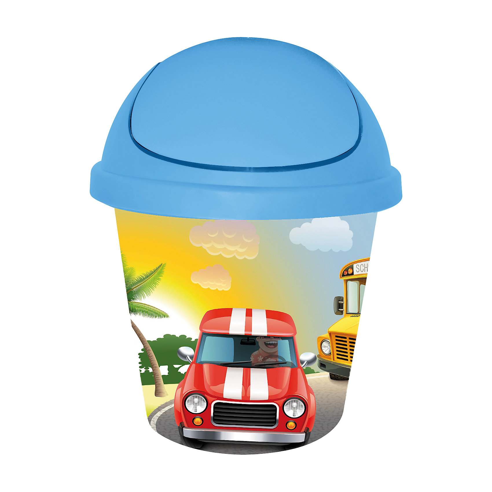 Мусорная корзина круглая 7 л. City Cars, Little Angel, голубой