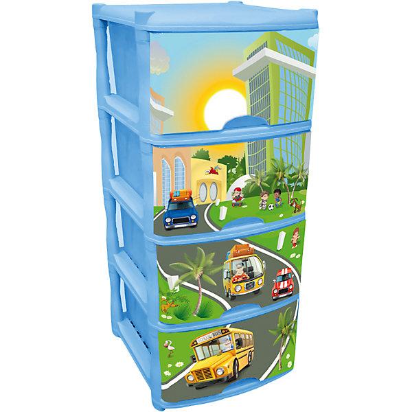 Комод для детской комнаты City Cars Tutti 4 ящика, Little Angel, голубой небесный