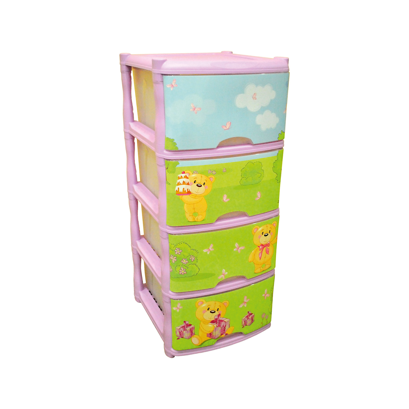 Комод для детской комнаты Bears Tutti 4 ящика, Little Angel, лавандовый от myToys