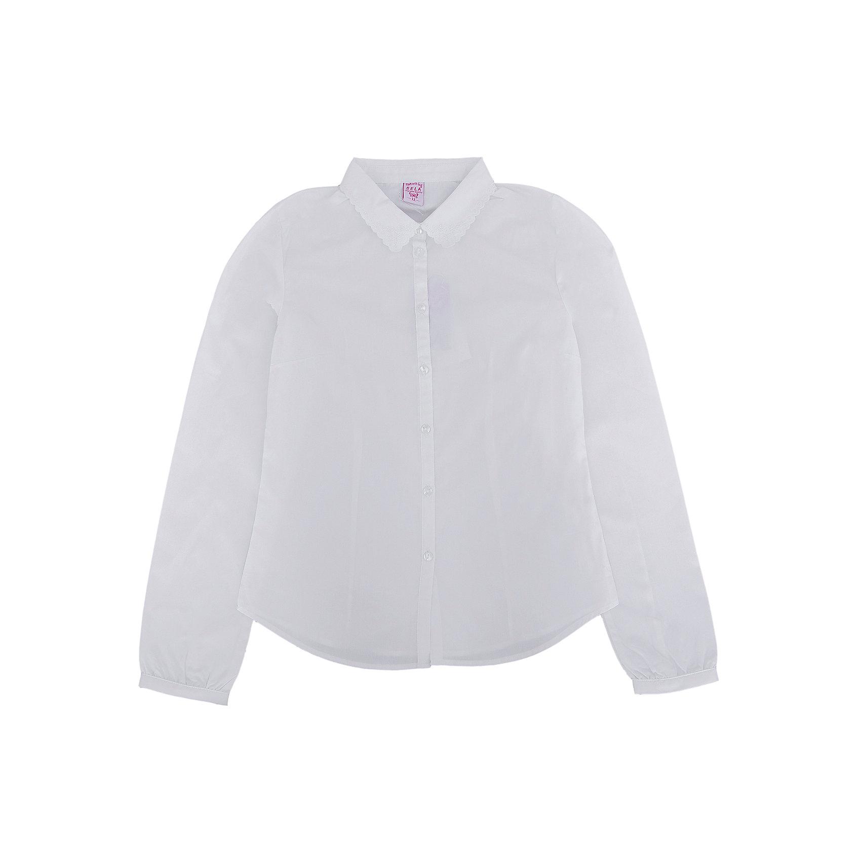 Блузка для девочки SELAНежная блузка с красивым воротничком для девочки необходимый атрибут в гардеробе юной леди.<br><br>У блузки приталенный крой, поэтому она хорошо будет смотреться с юбками и брюками, так же ее можно одеть под аккуратный школьный сарафан.<br><br>Дополнительная информация:<br><br>- Приталенный крой.<br>- Длинный рукав, с манжетой.<br>- Состав: хлопок - 100%<br>- Бренд: SELA<br>- Коллекция: осень-зима 2016-2017<br><br>Купить блузку для девочки от SELA можно в нашем магазине.<br><br>Ширина мм: 186<br>Глубина мм: 87<br>Высота мм: 198<br>Вес г: 197<br>Цвет: белый<br>Возраст от месяцев: 168<br>Возраст до месяцев: 180<br>Пол: Женский<br>Возраст: Детский<br>Размер: 170,152,158,164<br>SKU: 4883444