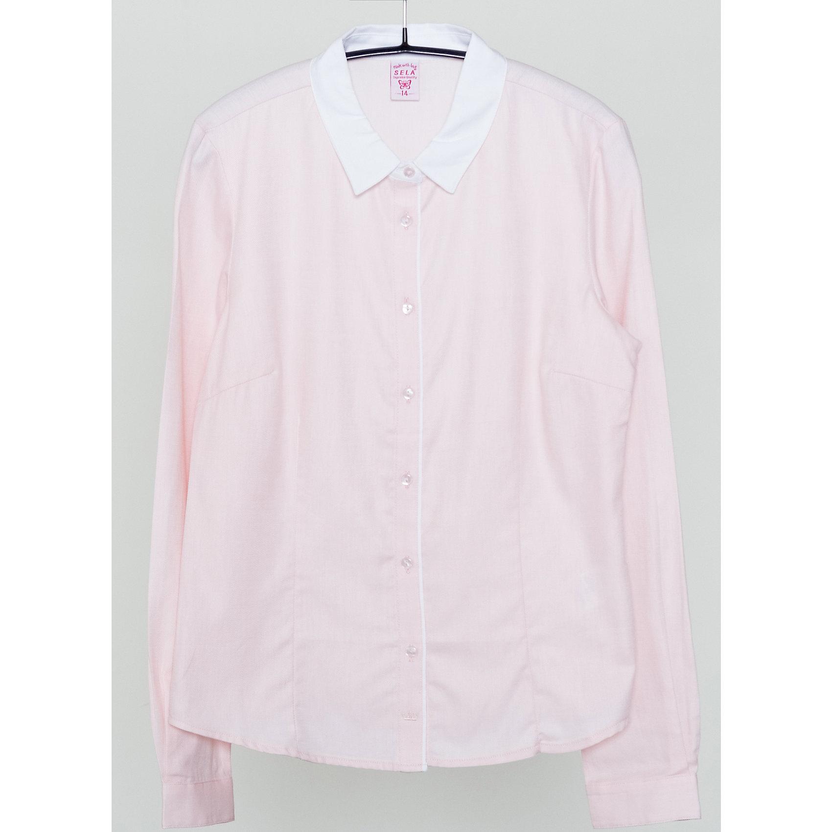 Блузка для девочки SELAБлузки и рубашки<br>Красивая блузка для девочки необходимый атрибут в гардеробе юной леди.<br><br>У блузки приталенный крой, поэтому она хорошо будет смотреться с юбками и брюками.<br><br>Такая блузка станет приятным сюрпризом для Вашей малышки.<br><br>Дополнительная информация:<br><br>- Приталенный крой.<br>- Длинный рукав, отложной воротничок.<br>- Цвет: коралловый<br>- Состав: хлопок 100%<br>- Бренд: SELA<br>- Коллекция: осень-зима 2016-2017<br><br>Купить блузку для девочки от SELA можно в нашем магазине.<br><br>Ширина мм: 186<br>Глубина мм: 87<br>Высота мм: 198<br>Вес г: 197<br>Цвет: розовый<br>Возраст от месяцев: 168<br>Возраст до месяцев: 180<br>Пол: Женский<br>Возраст: Детский<br>Размер: 170,158,152,164<br>SKU: 4883449
