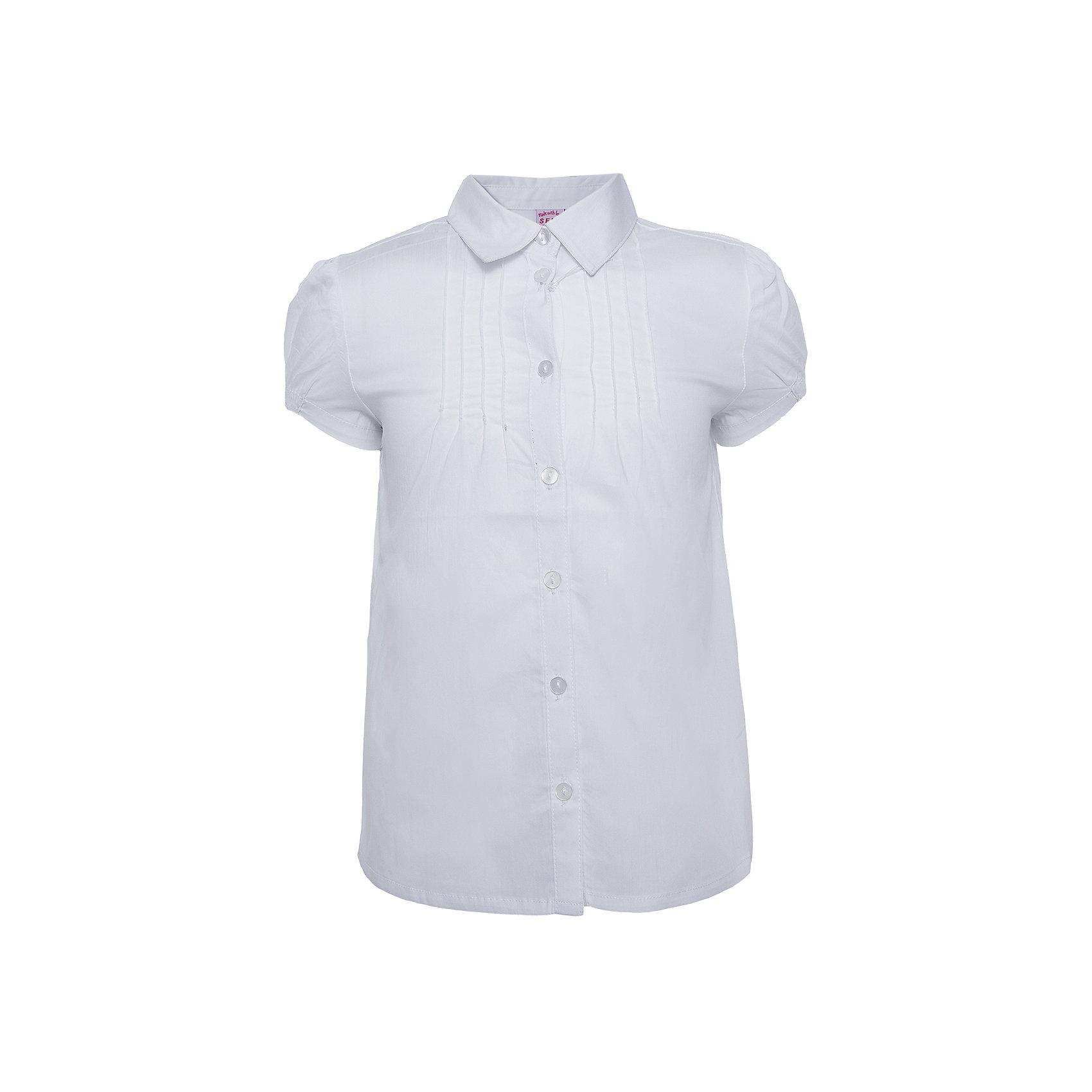 Блузка для девочки SELAБлузки и рубашки<br>Белая блузка с укороченным руковом юной модницы.<br><br>Блузка свободного кроя, поэтому ее можно комбинировать с любыми вещами.<br><br>Дополнительная информация:<br><br>- Свободный крой.<br>- Короткий рукав, отложной воротничок.<br>- Цвет: белый.<br>- Состав:  56% хлопок, 41% нейлон, 3% эластан.<br>- Бренд: SELA<br><br>Купить блузку для девочки от SELA можно в нашем магазине.<br><br>Ширина мм: 186<br>Глубина мм: 87<br>Высота мм: 198<br>Вес г: 197<br>Цвет: белый<br>Возраст от месяцев: 60<br>Возраст до месяцев: 72<br>Пол: Женский<br>Возраст: Детский<br>Размер: 116,140,146,152,122,128,134<br>SKU: 4883454
